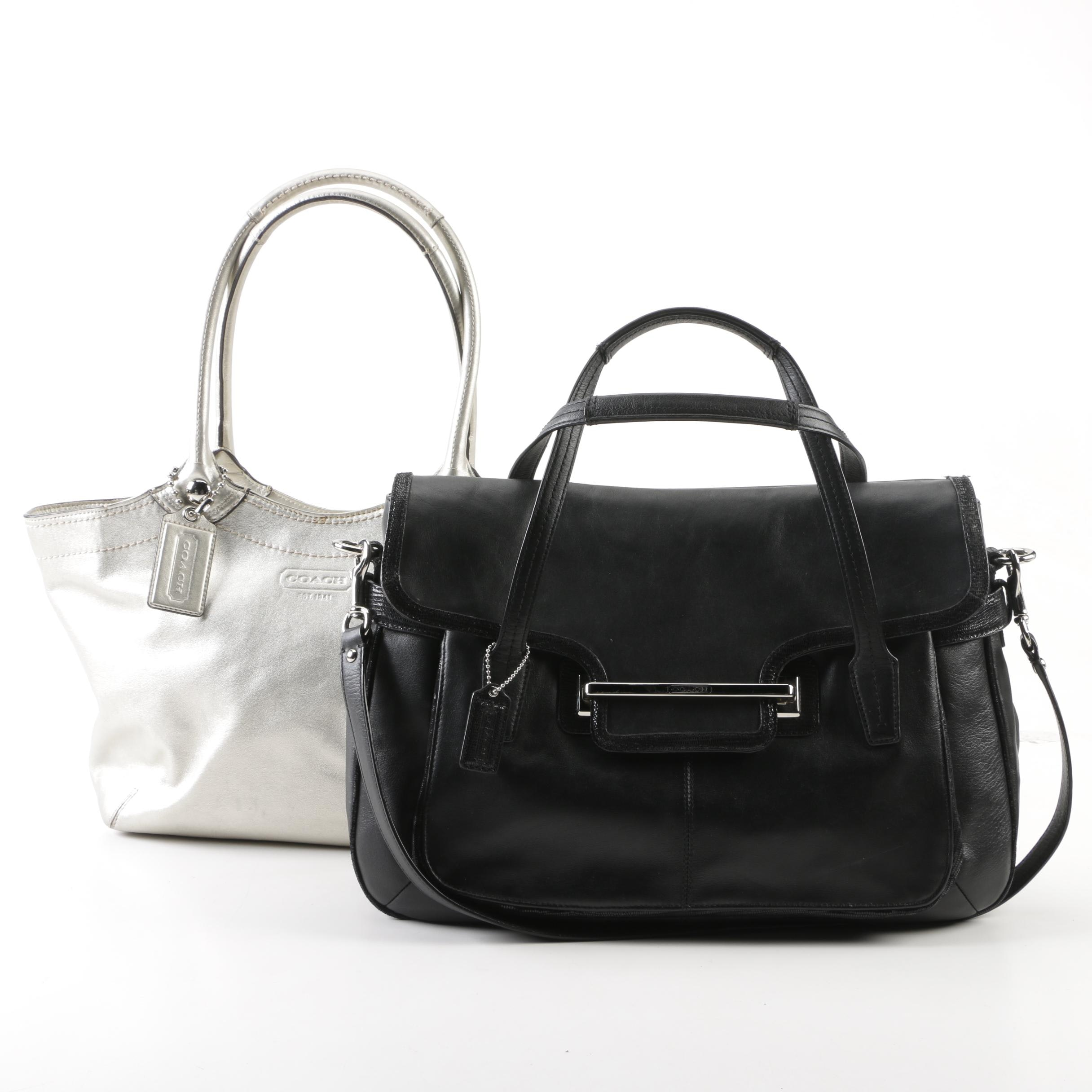 Coach Metallic Silver Legacy Bleeker and Black Leather Taylor Shoulder Bags