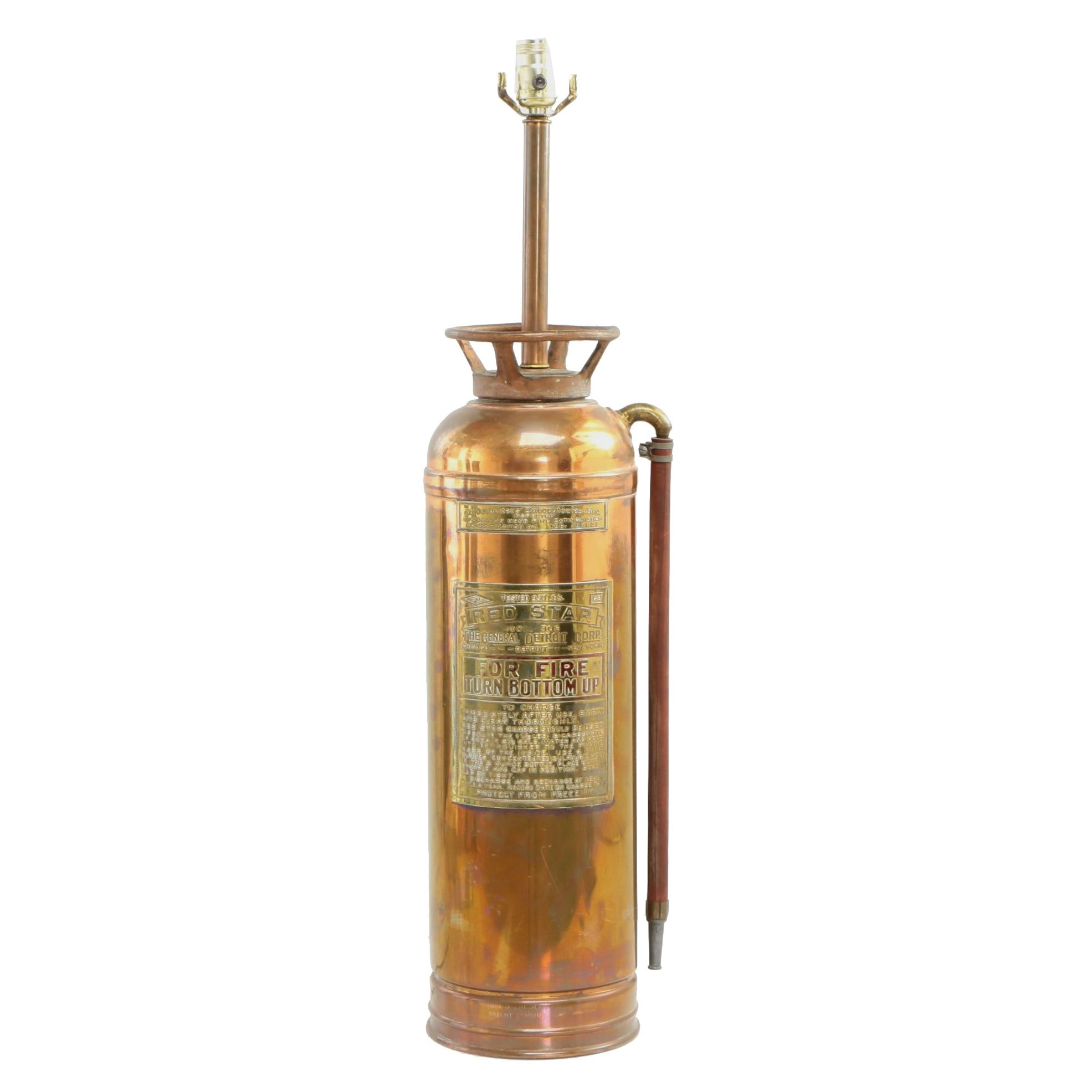 Converted Red Star Copper Fire Extinguisher Table Lamp, Early 20th Century
