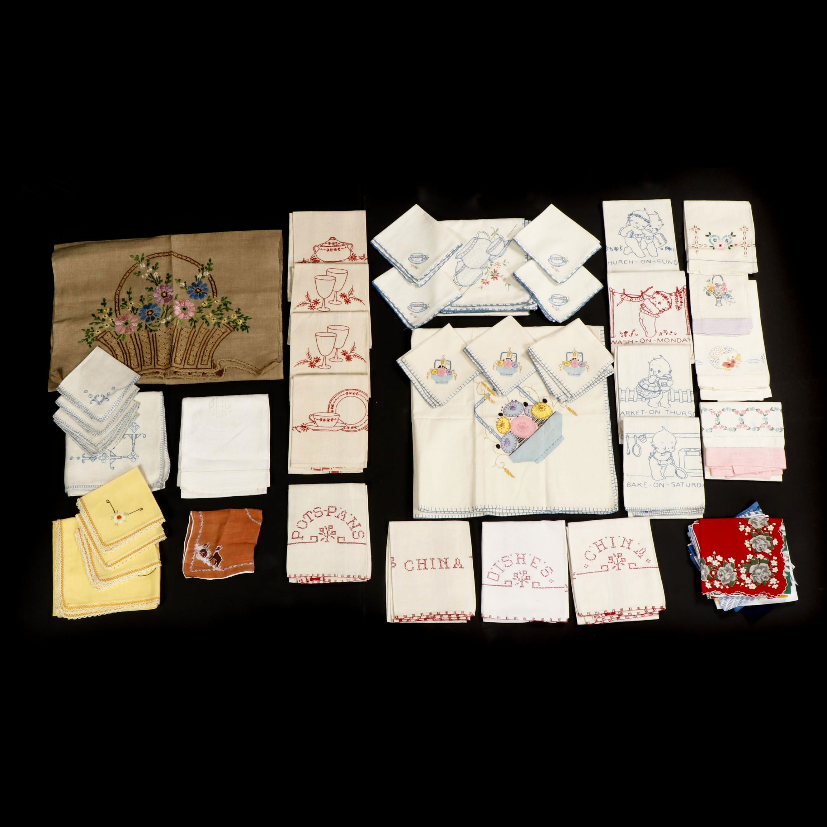 Hand-Embroidered Kitchen Linens and Handkerchiefs, Mid-Century
