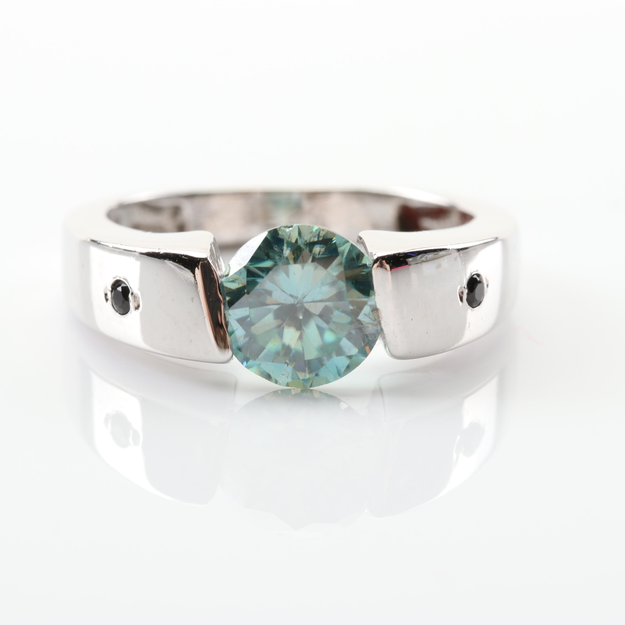 Sterling Silver Moissanite and Black Spinel Ring