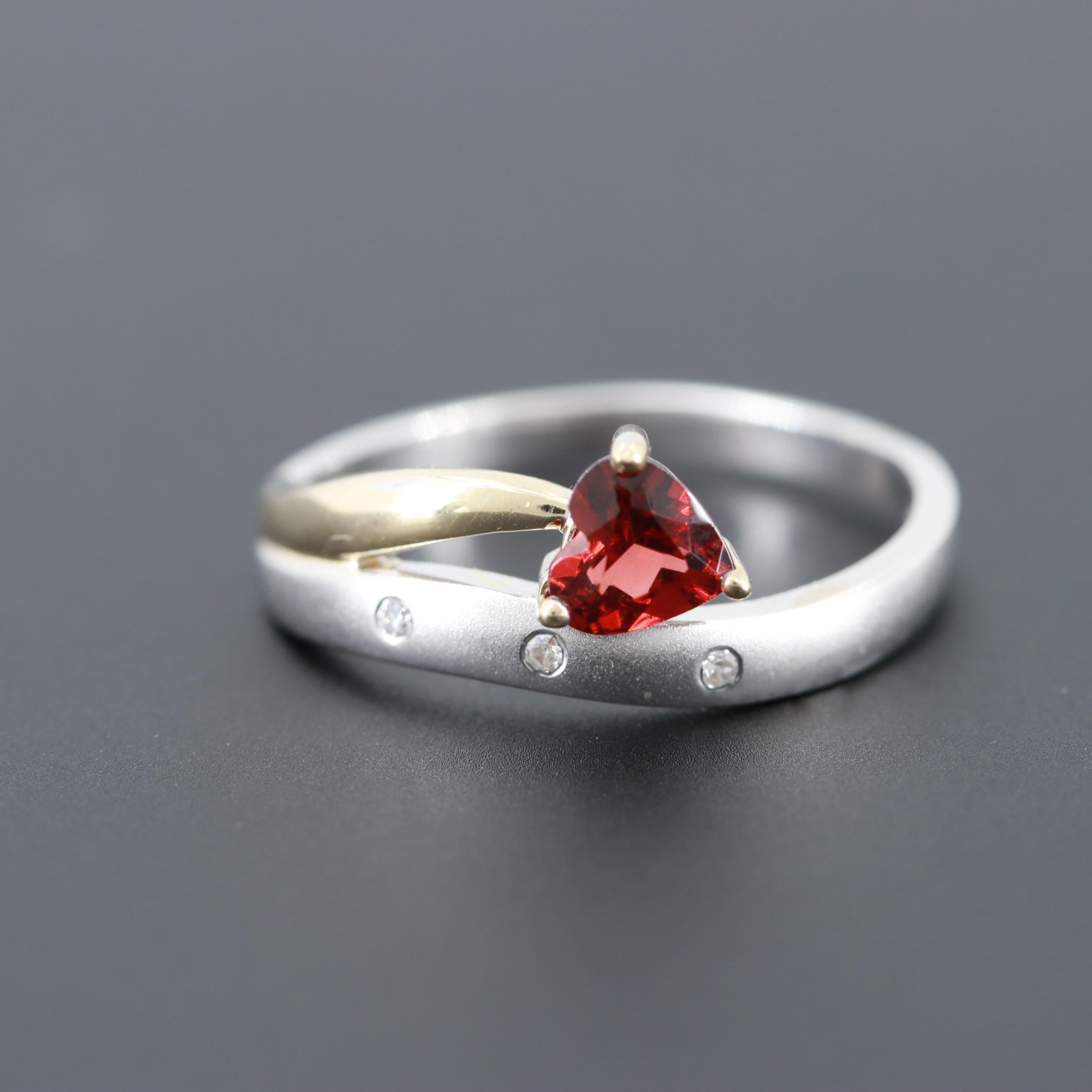10K Yellow and White Gold Garnet and Diamond Ring