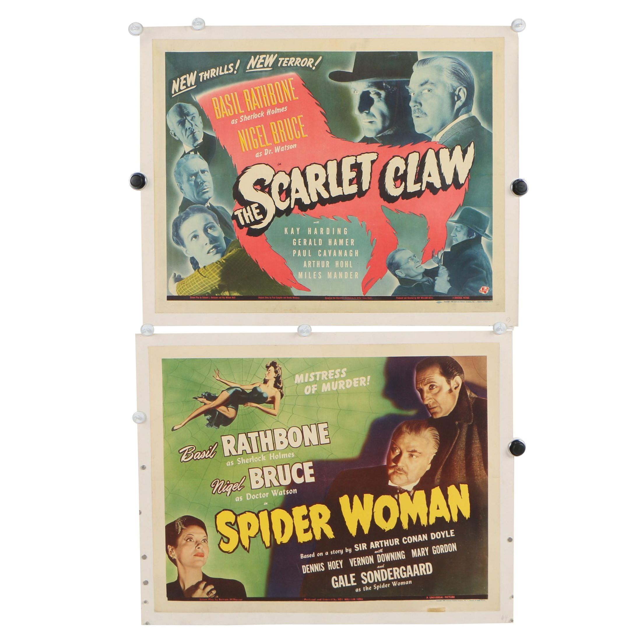 """Spider Woman"" and ""The Scarlet Claw"" Half Sheet Movie Posters, 1943-1944"