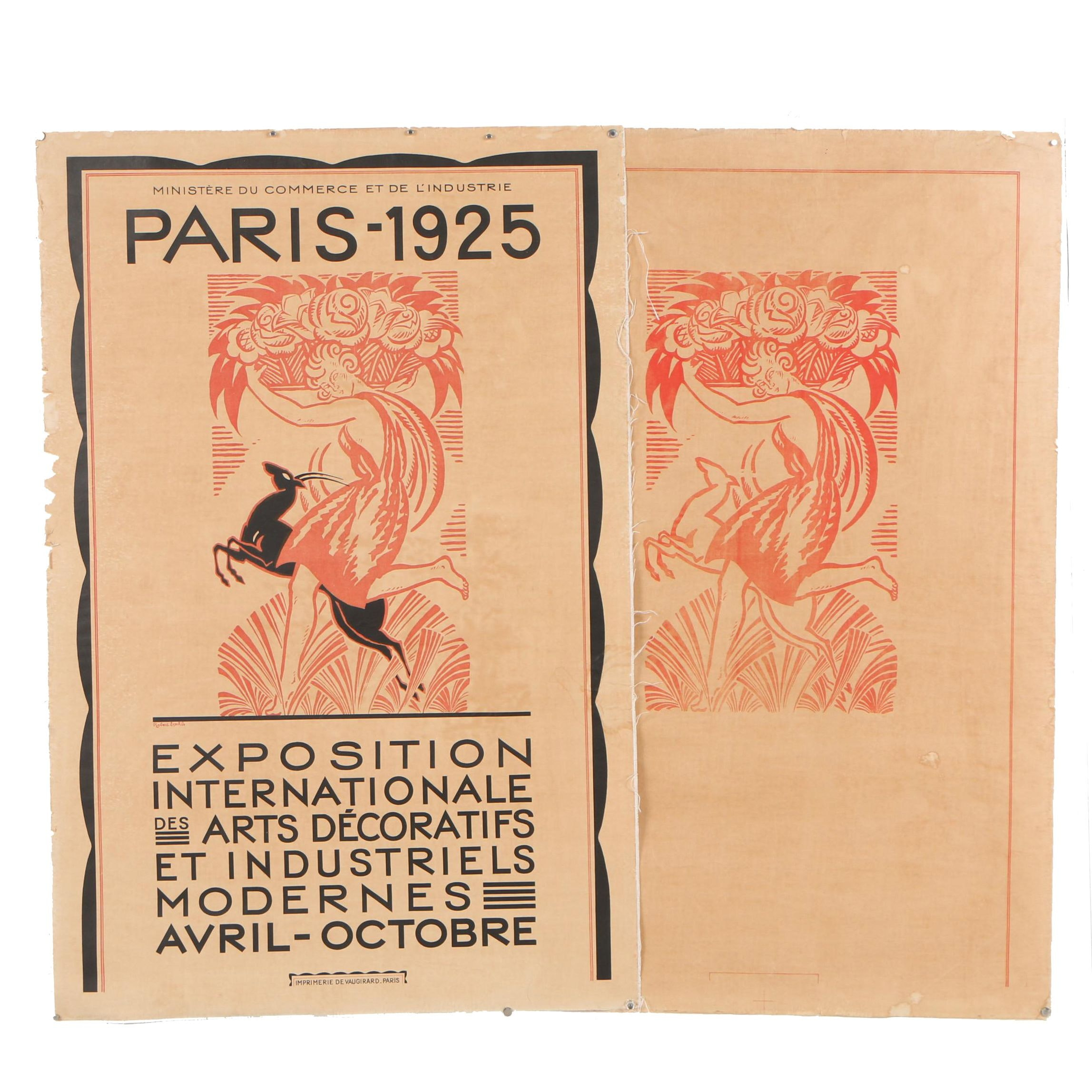 Robert Bonfils Art Deco Relief Print Poster and Proof for 1925 Paris Exposition