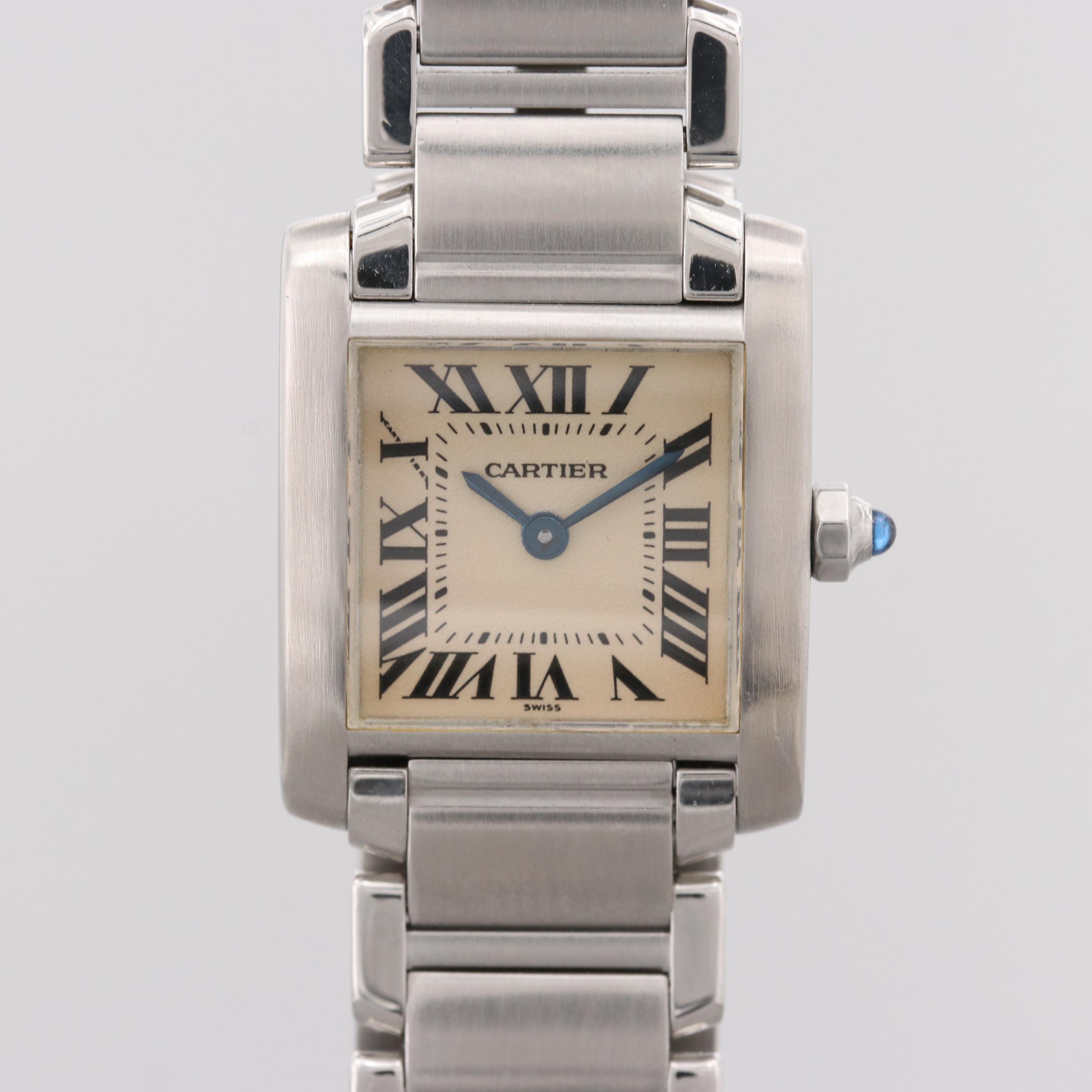 Cartier Tank Française Stainless Steel Quartz Wristwatch