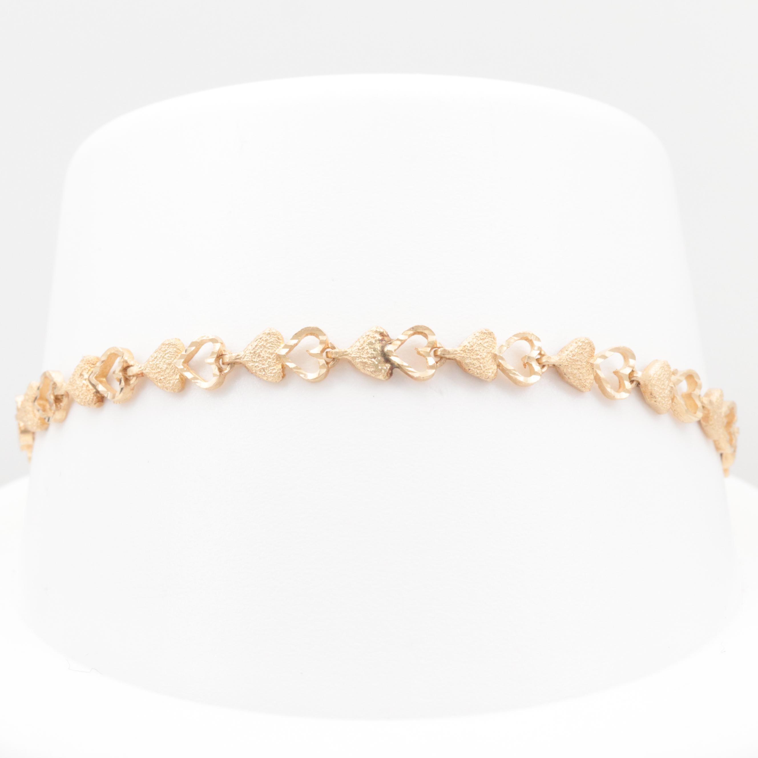 14K Yellow Gold Heart Link Bracelet