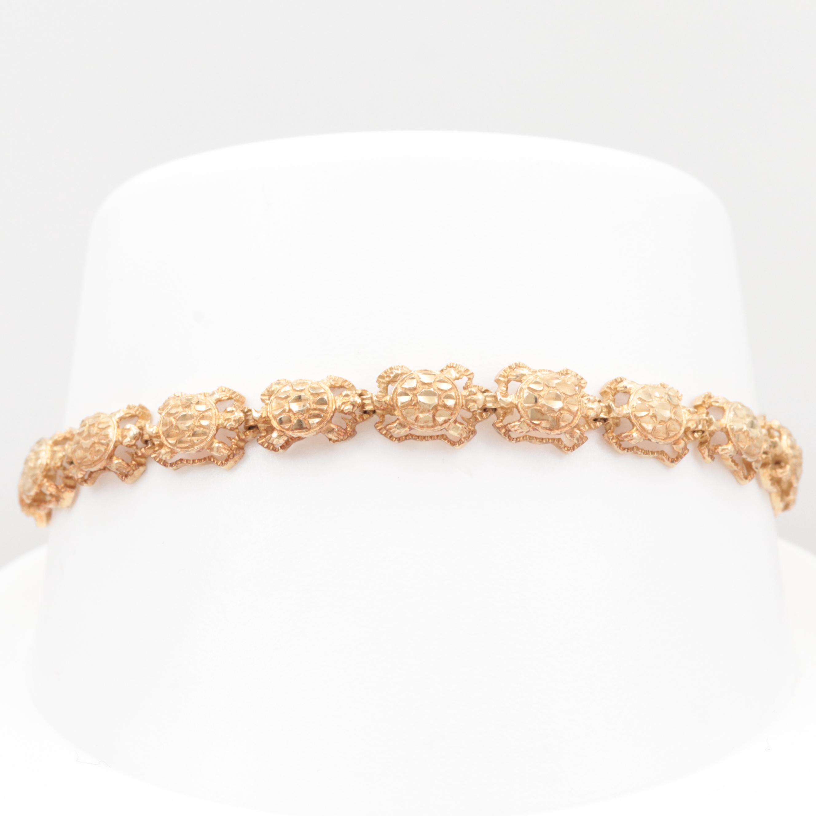 14K Yellow Gold Turtle Motif Bracelet