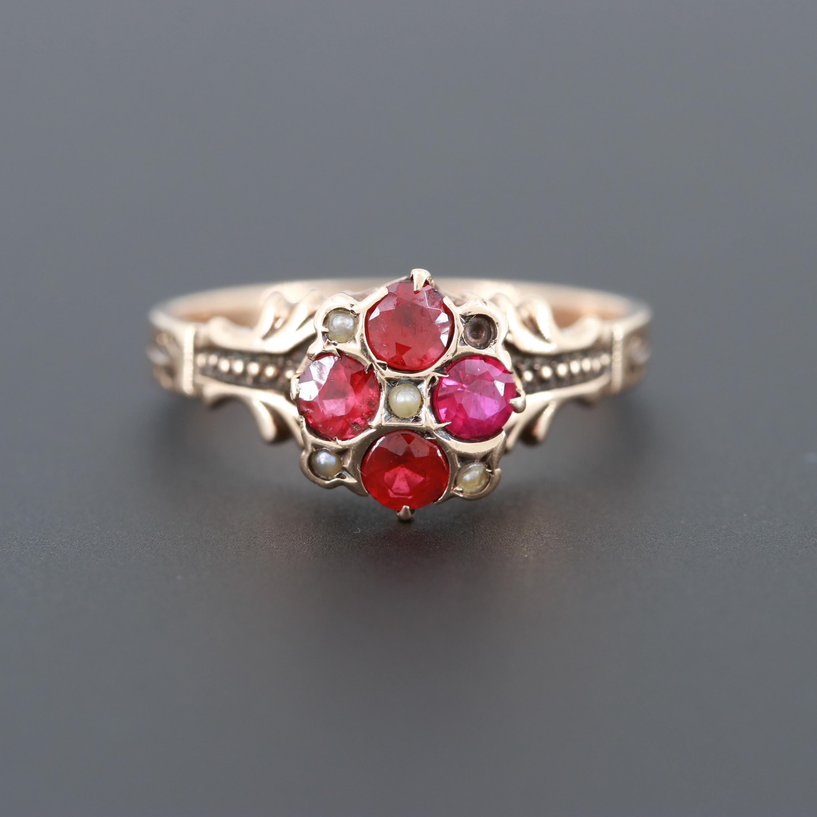 Victorian 10K Yellow Gold Ruby, Glass Garnet Doublet and Cultured Pearl Ring