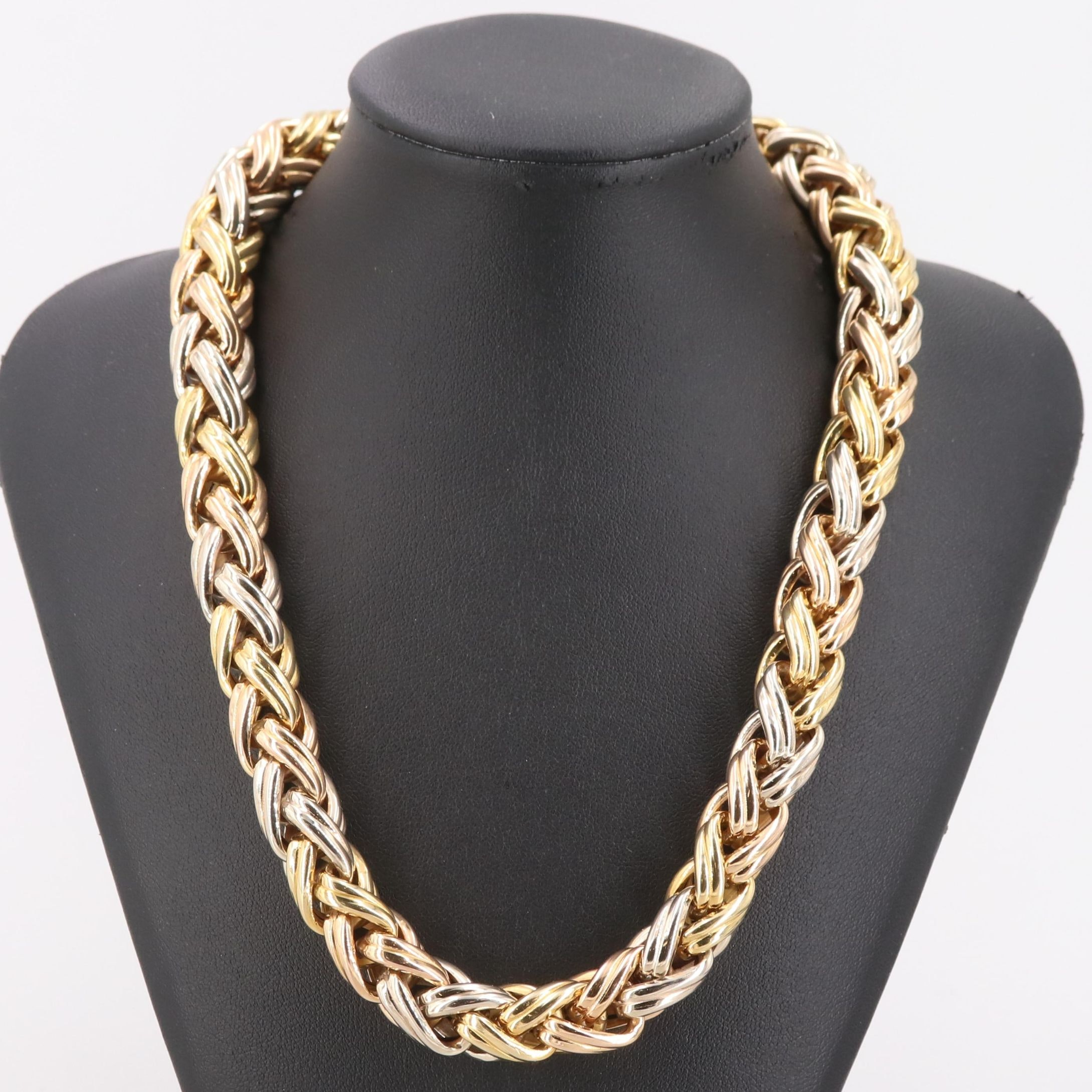 Italian 18K Tri-Color Gold Braided Link Necklace