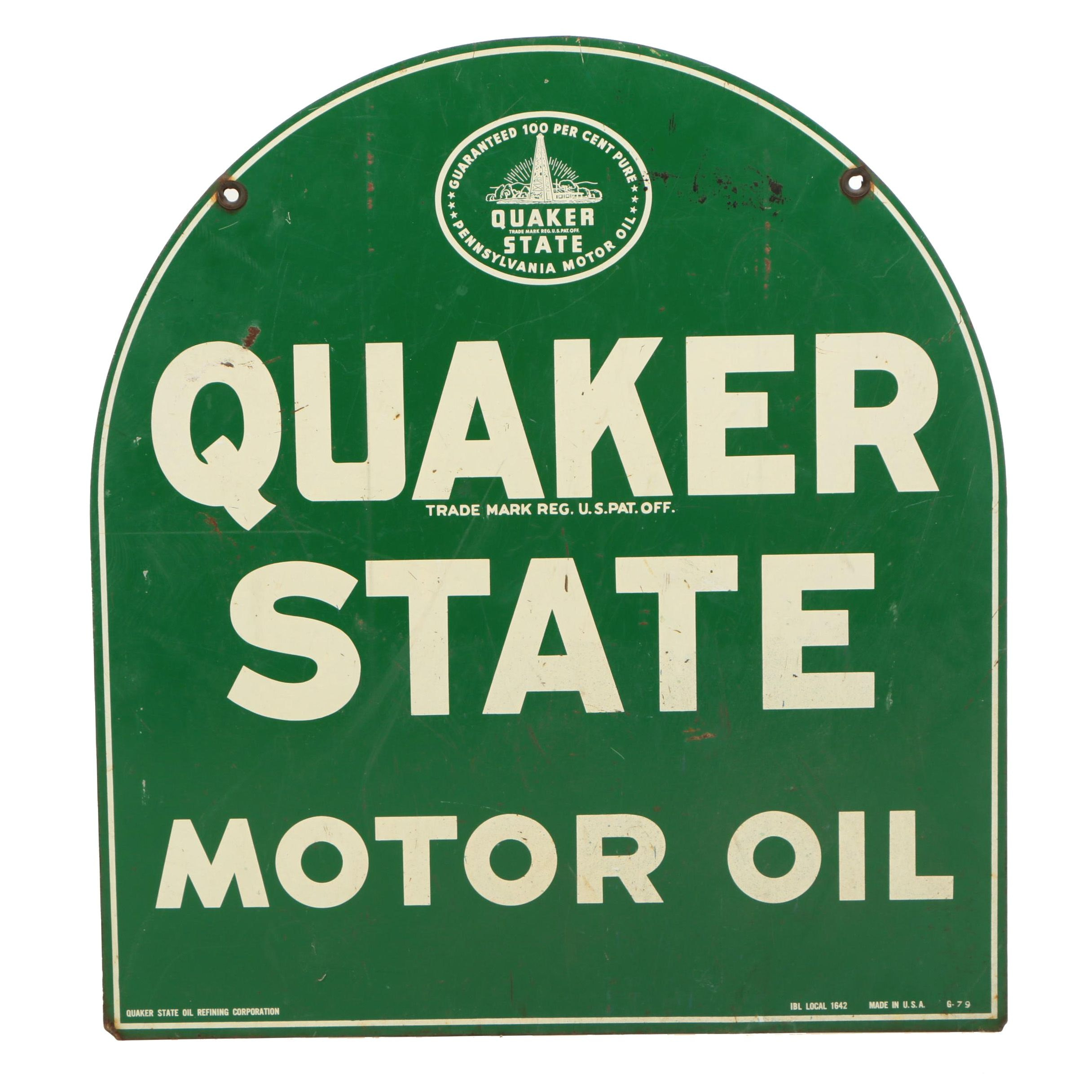 Quaker State Motor Oil Enameled Metal Sign, Mid-20th Century