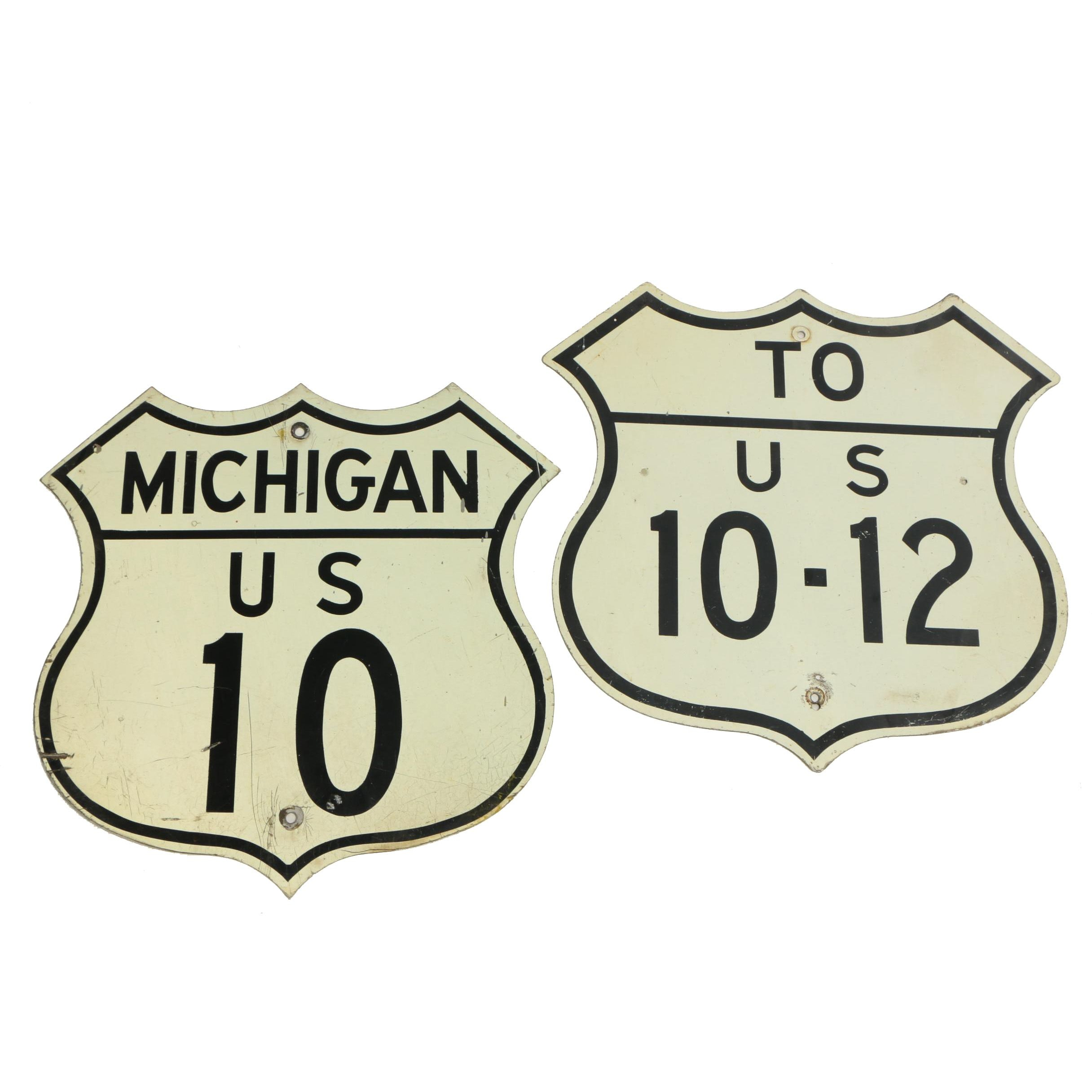 Michigan U. S. Route 10 and 12 Enameled Metal Road Signs, 20th Century