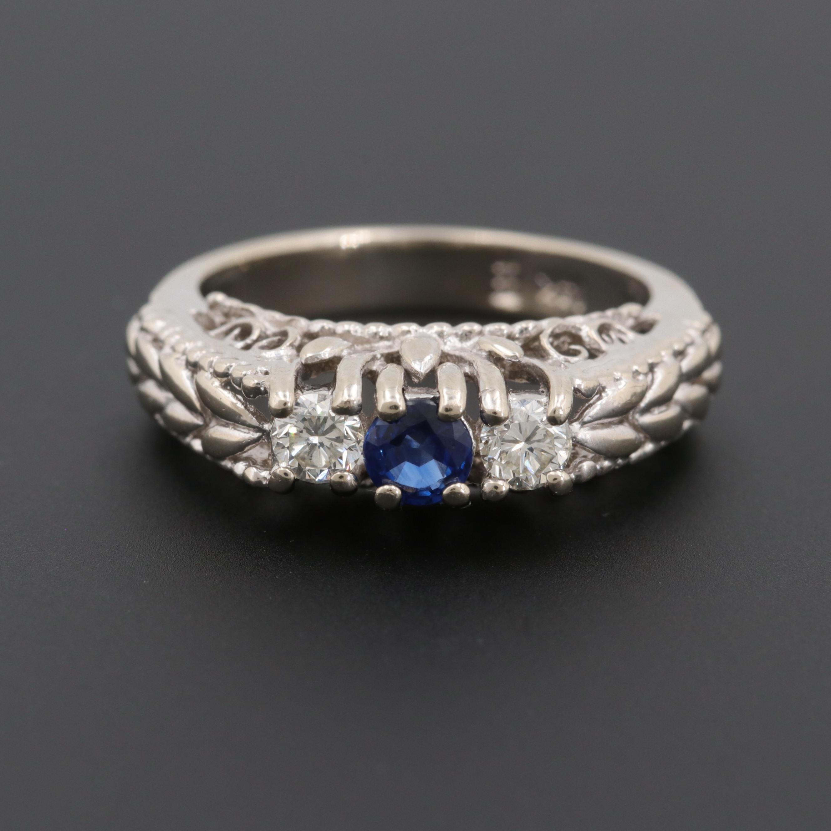 14K White Gold Blue Sapphire and Diamond Ring with Foliate and Scroll Mounting