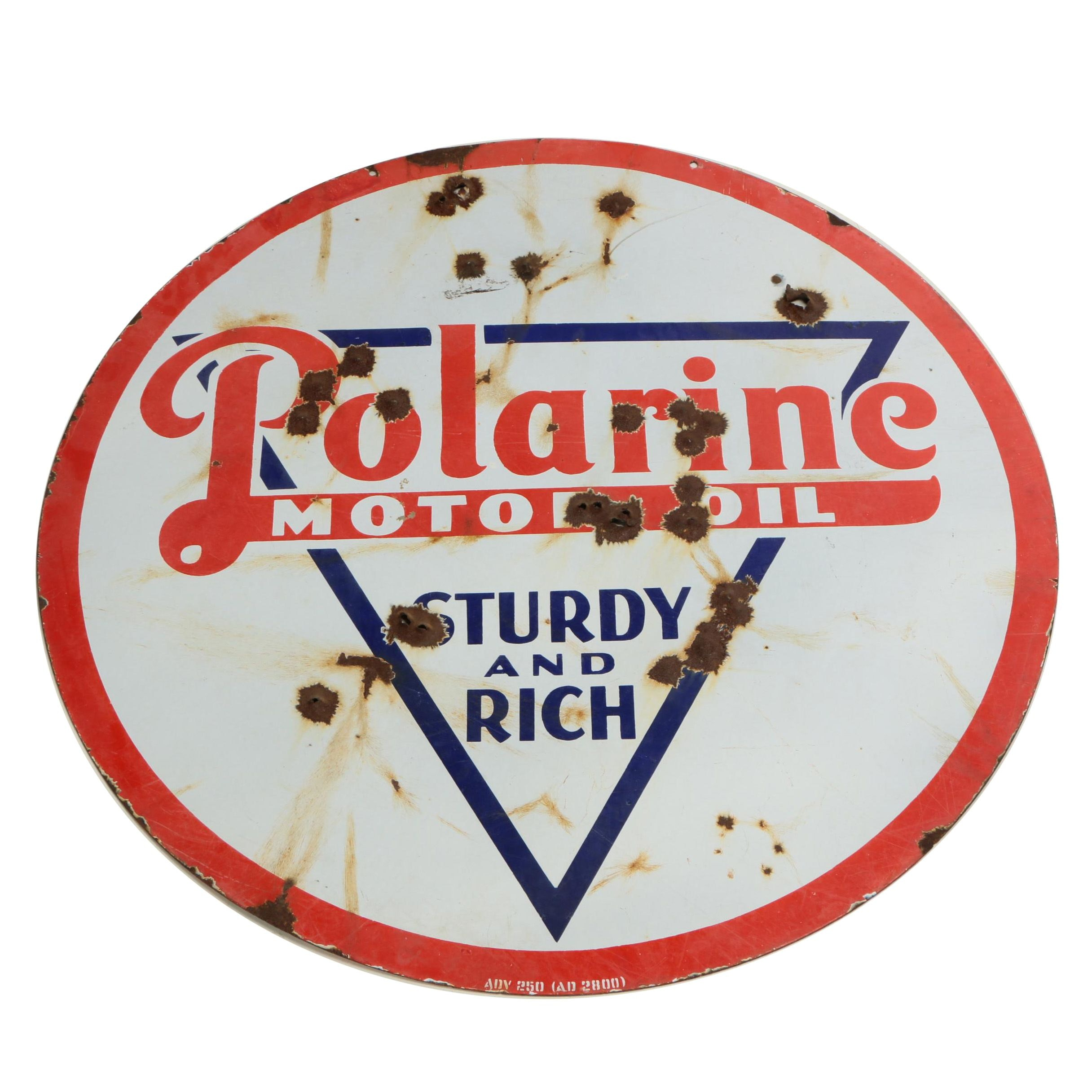 Polarine Motor Oil Enameled Metal Sign, Early 20th Century