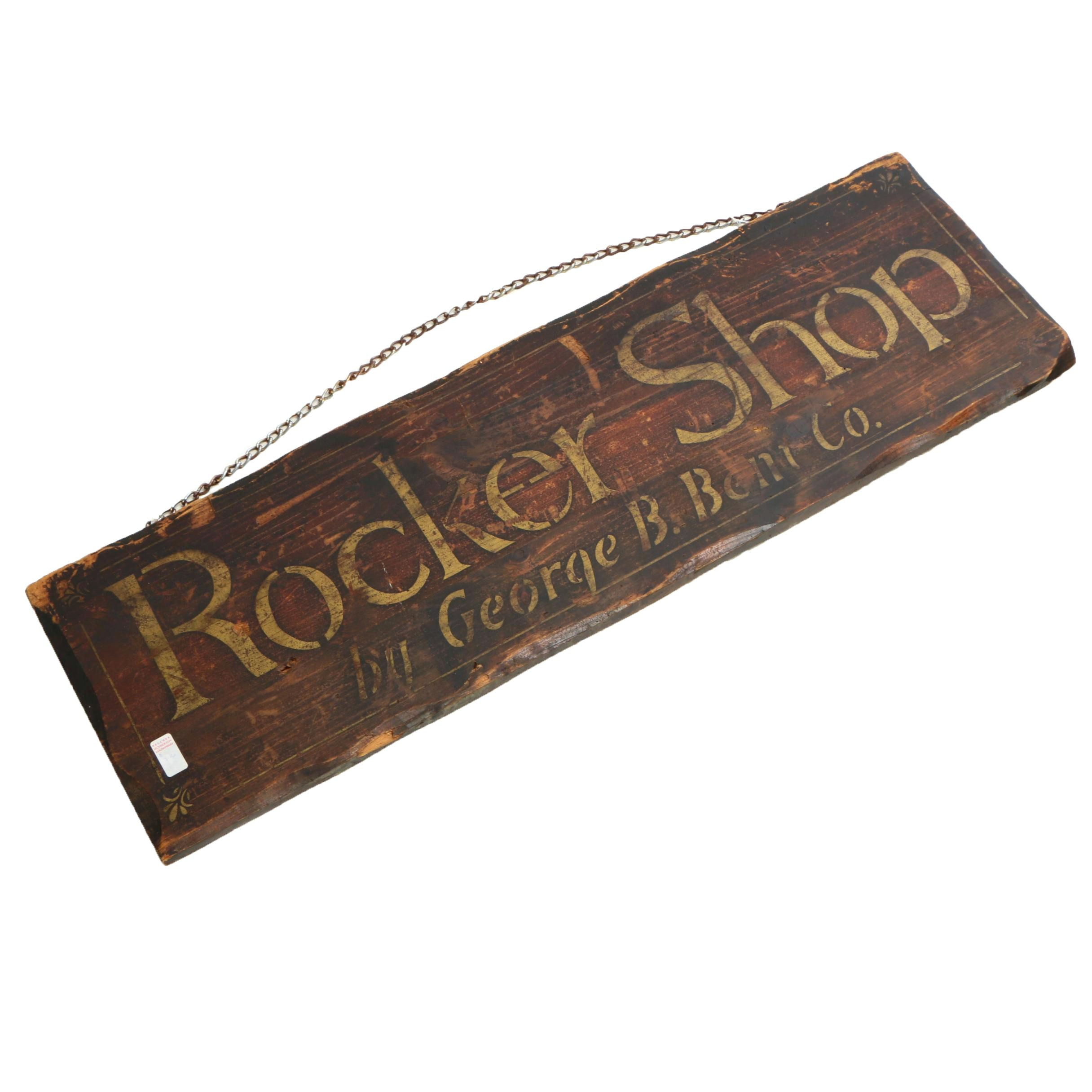 George B. Bent Rocker Shop Wooden Retail Sign, Mid-Century