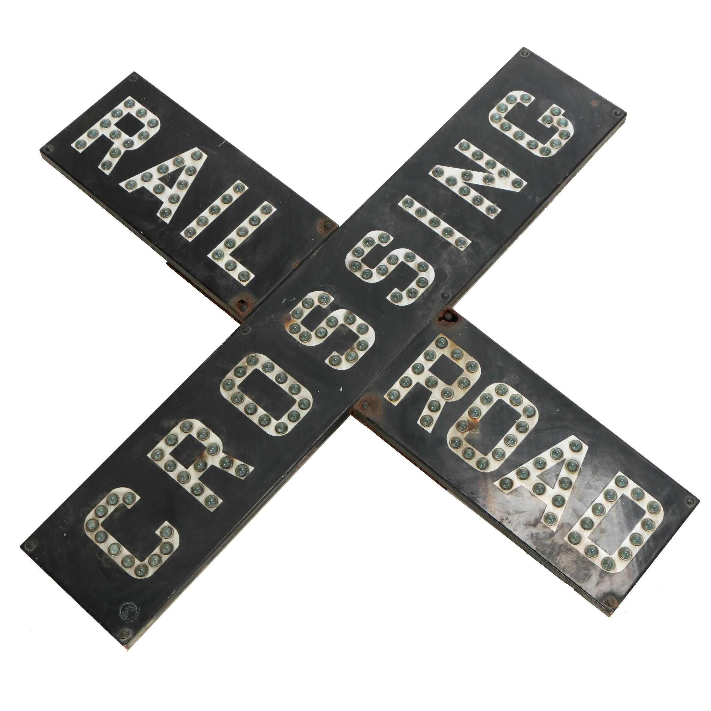 """Crossbuck Railroad Crossing Gate Sign with """"Cat Eye"""" Reflectors, 1930s"""