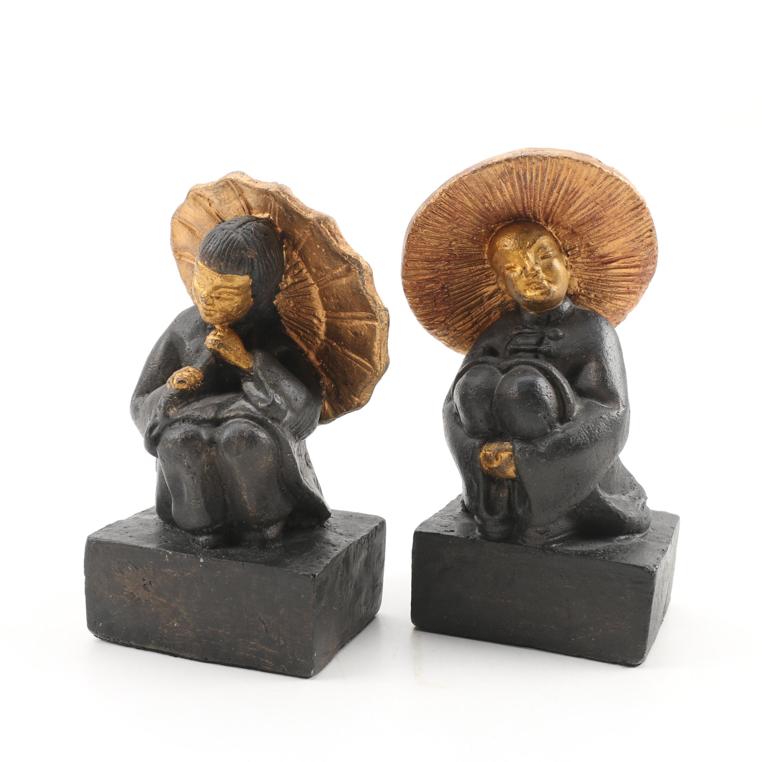 Cast Iron Chinoiserie Figurine Bookends, 20th Century