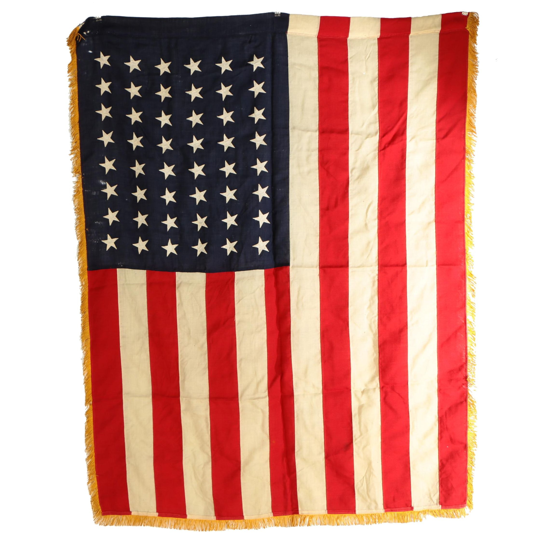 Large 48 Star American Flag with Fringe, 1912 - 1959