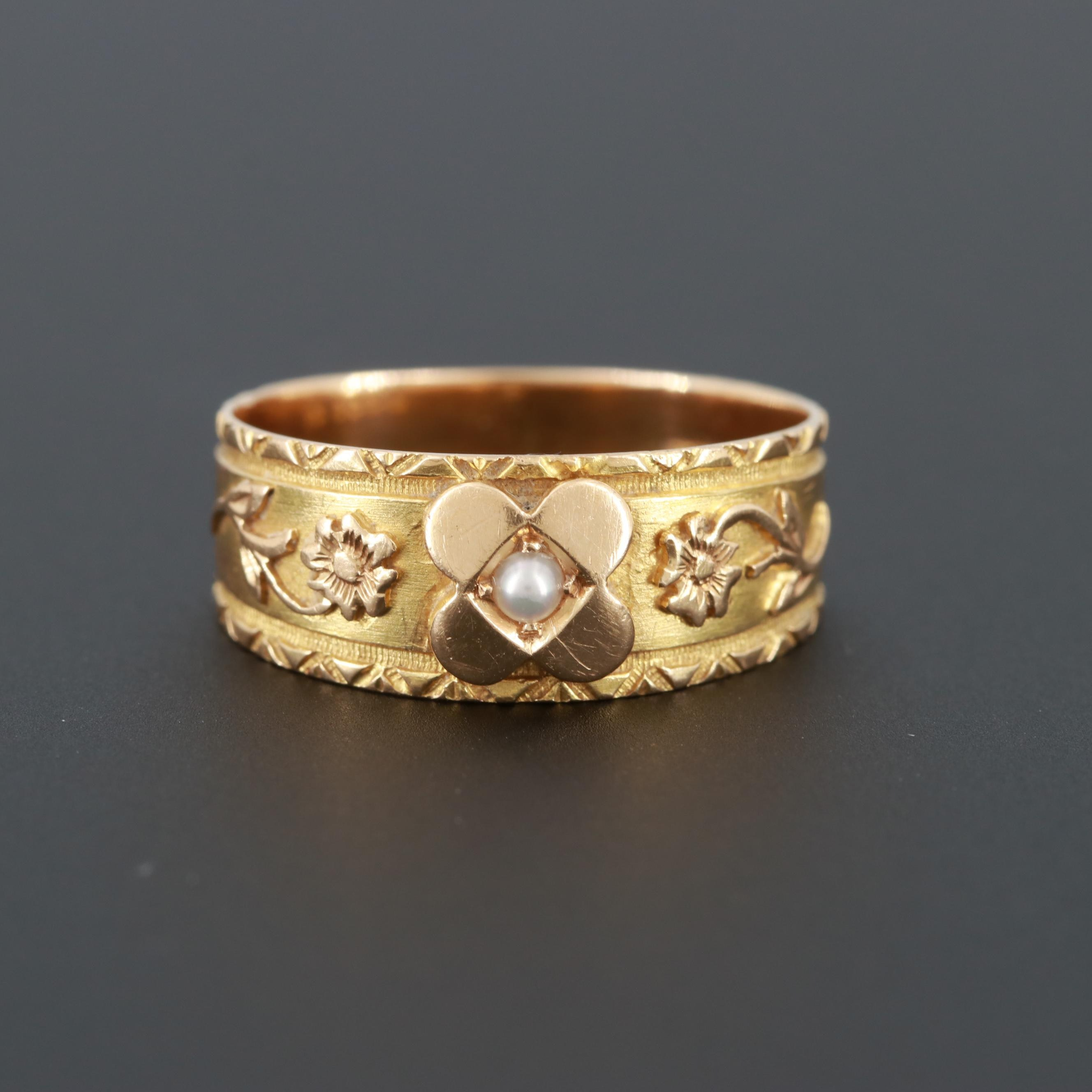 Mid-Victorian 18K Yellow Gold Cultured Pearl Floral Motif Ring
