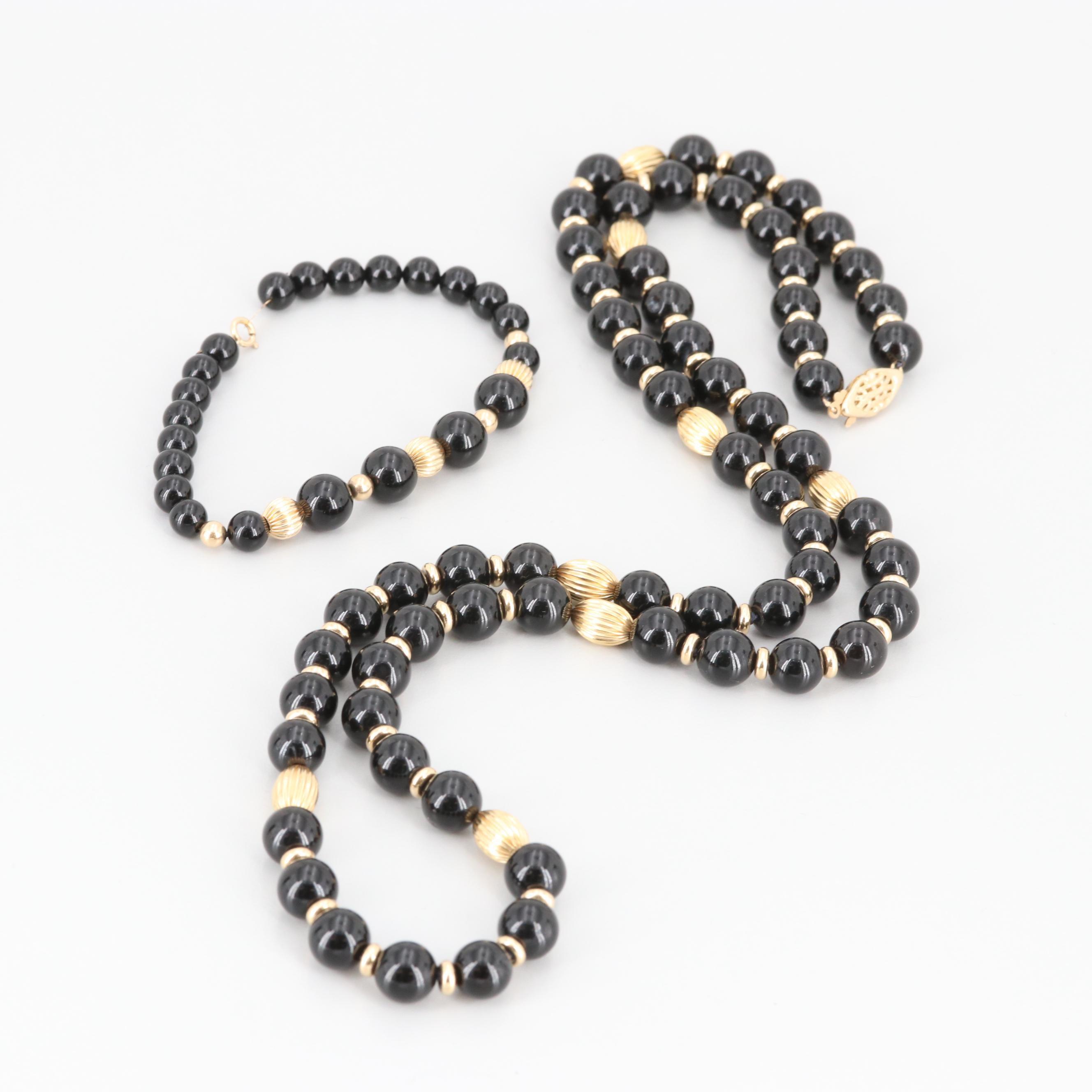 14K Yellow Gold Black Onyx Bead Necklace and Bracelet