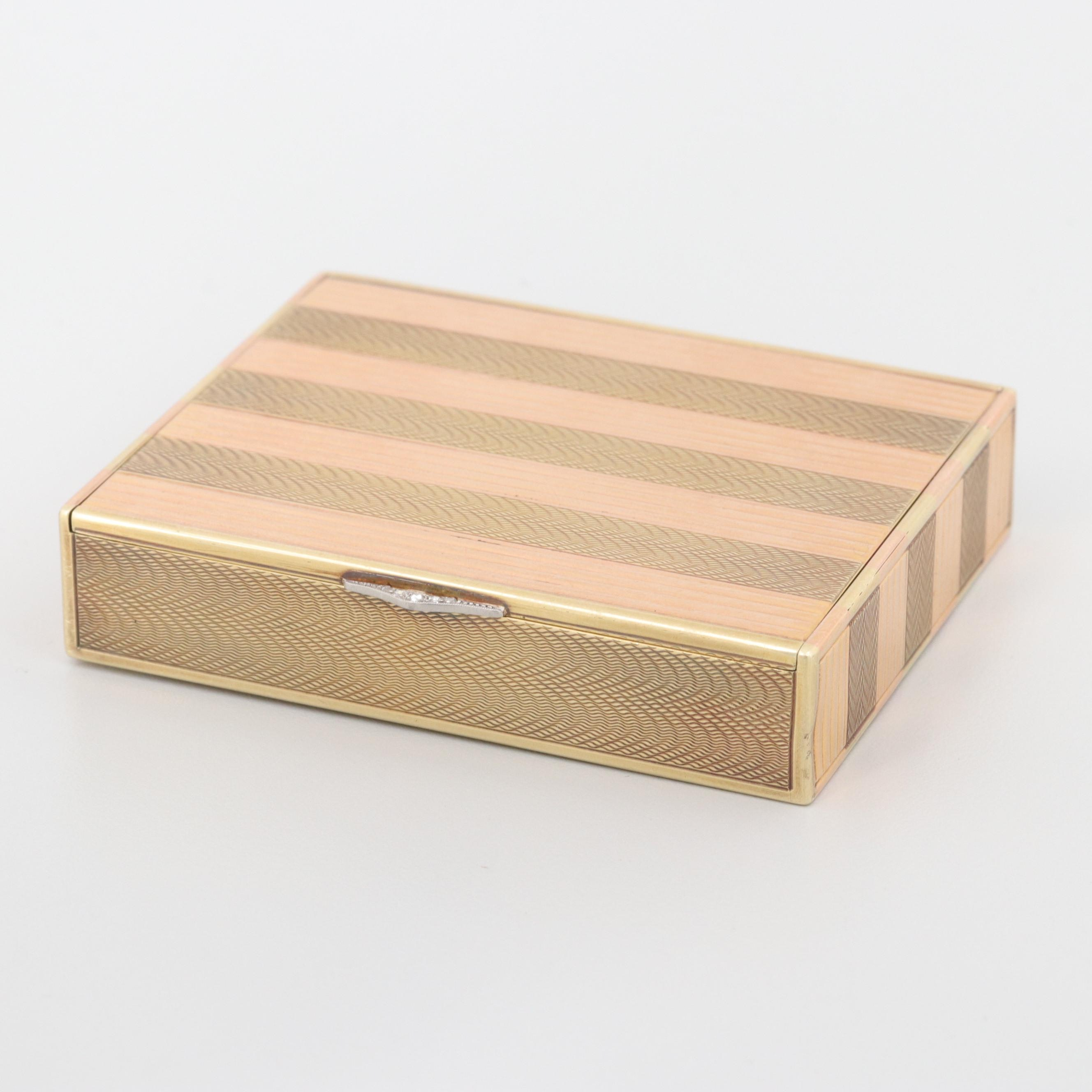 14K Yellow and Rose Gold Trinket Box with Platinum and Diamond Latch