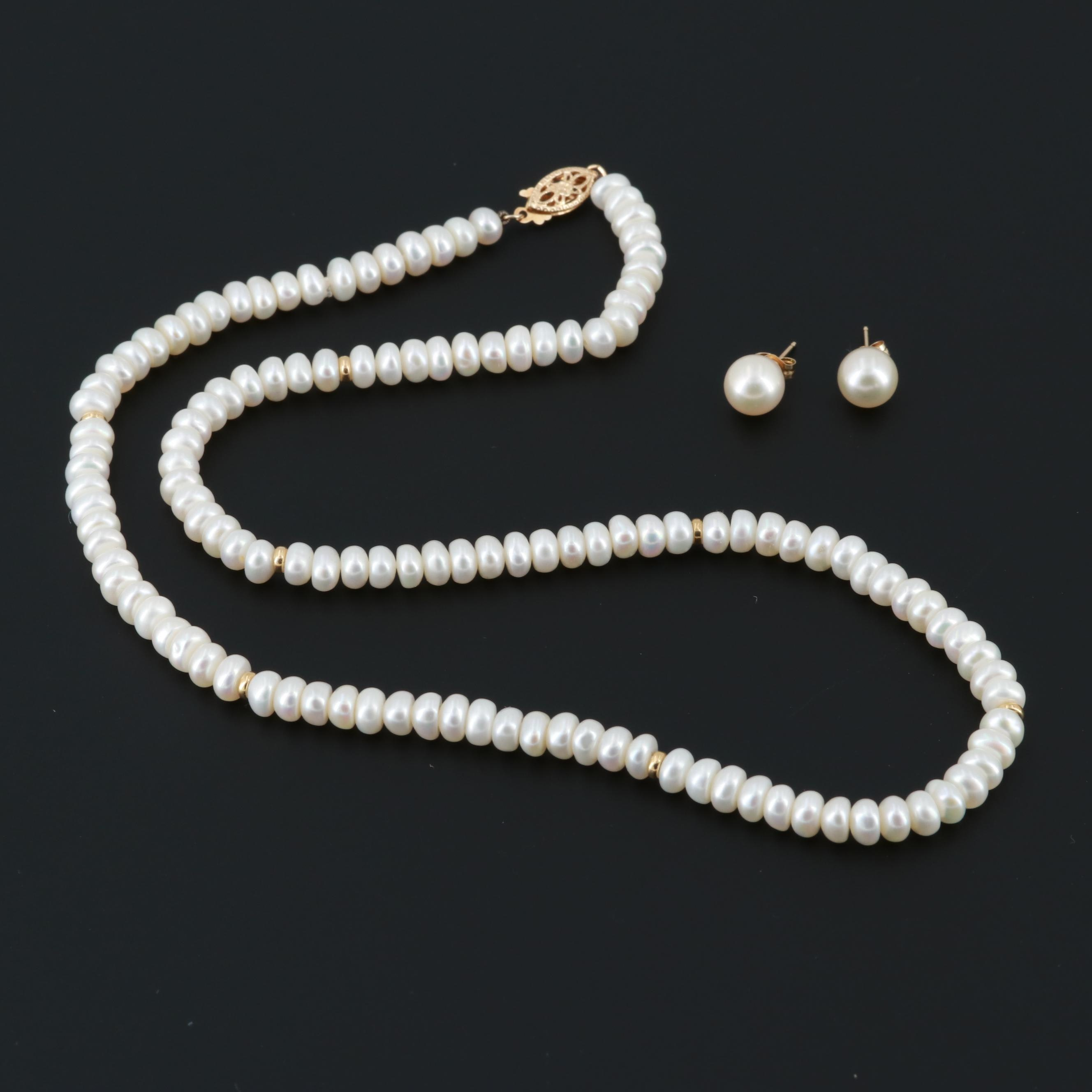 14K Yellow Gold Cultured Pearl Necklace and Stud Earrings