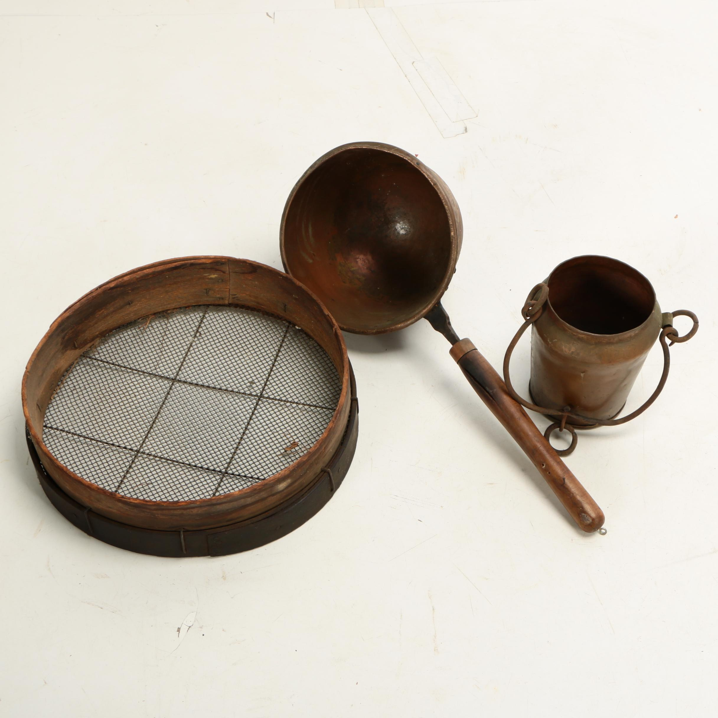Industrial Copper Sauce Pot and Kettle with Mesh Sieve, 19th Century