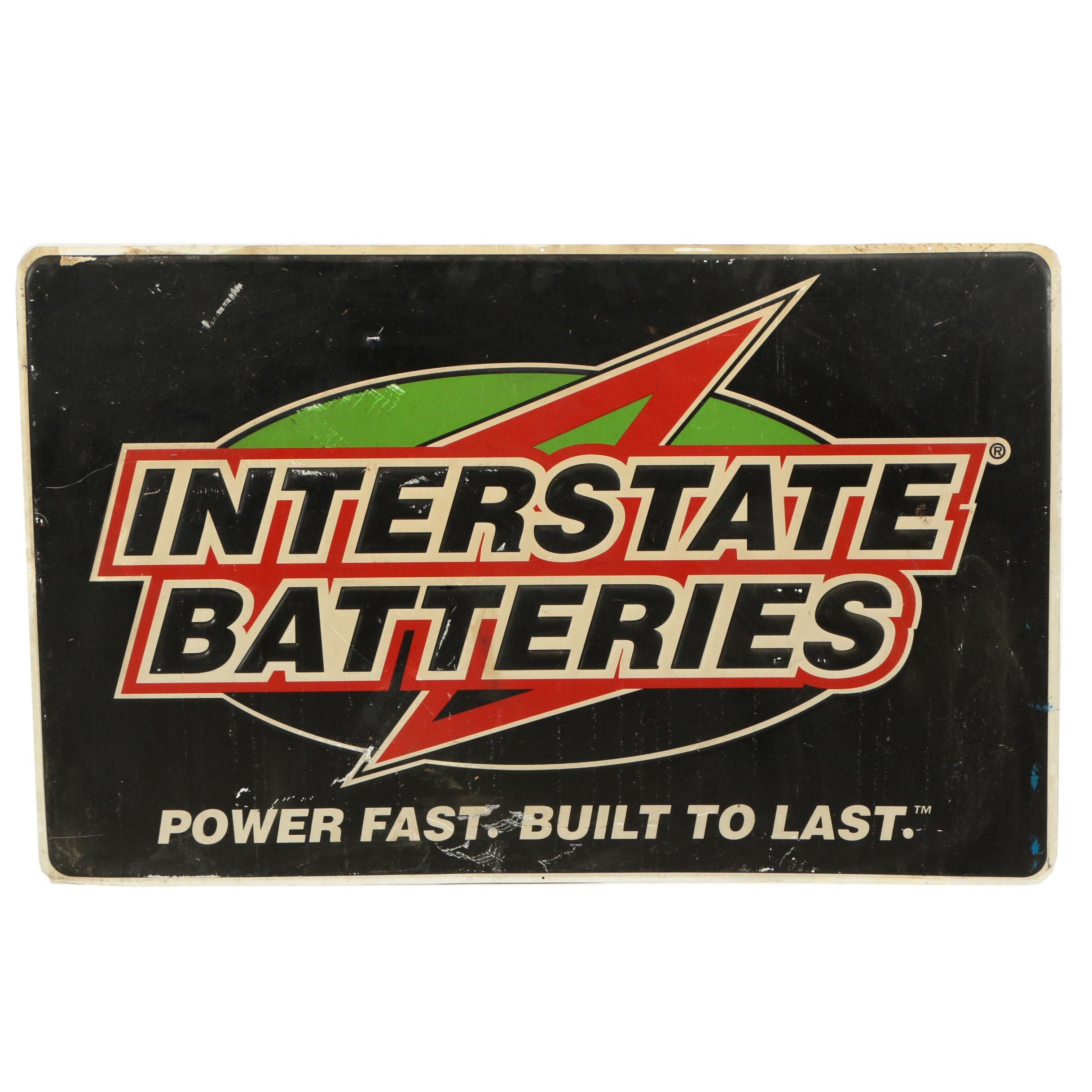 Interstate Batteries Embossed Printed Metal Sign, 20th Century