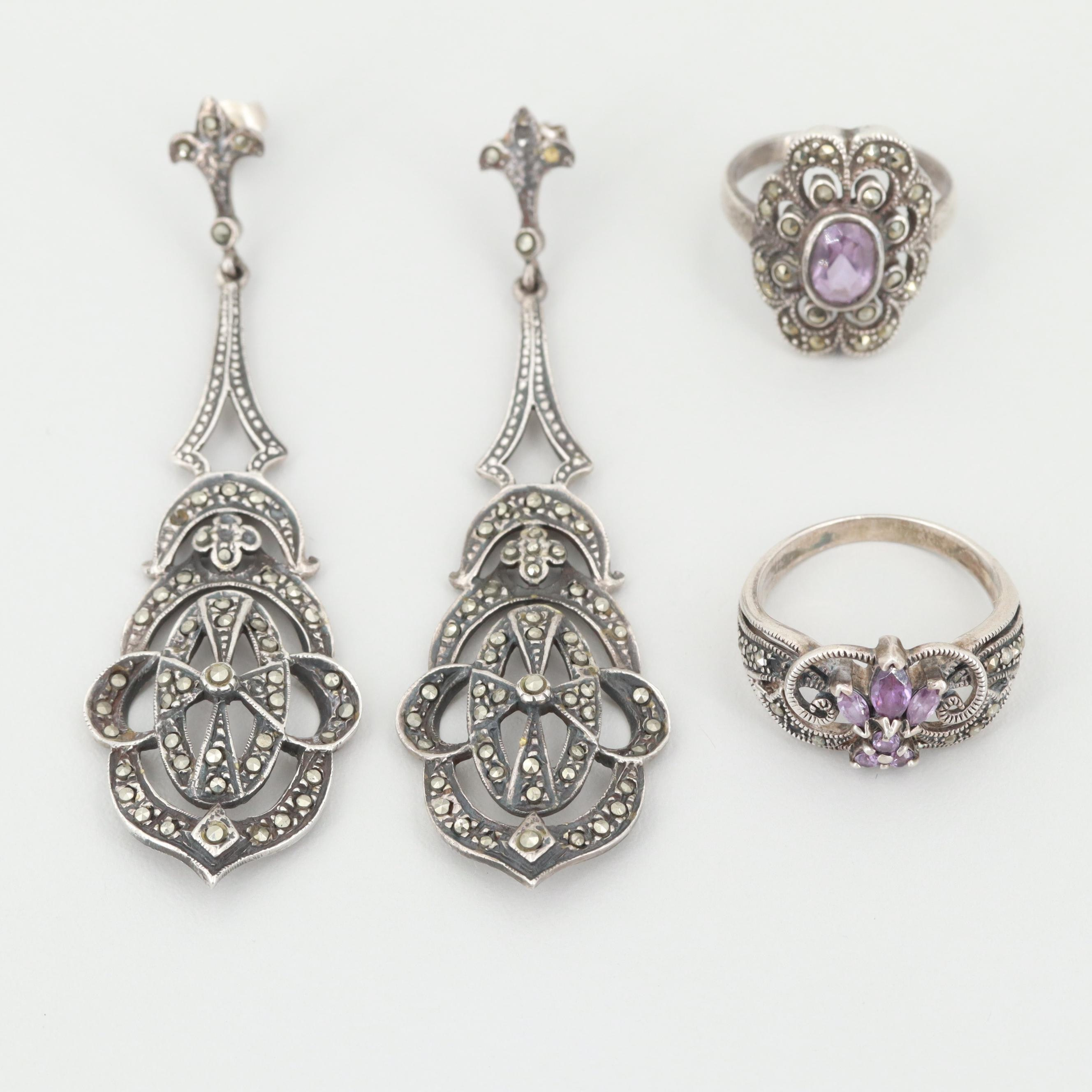 Art Deco Inspired Sterling Silver Amethyst and Marcasite Rings and Earrings