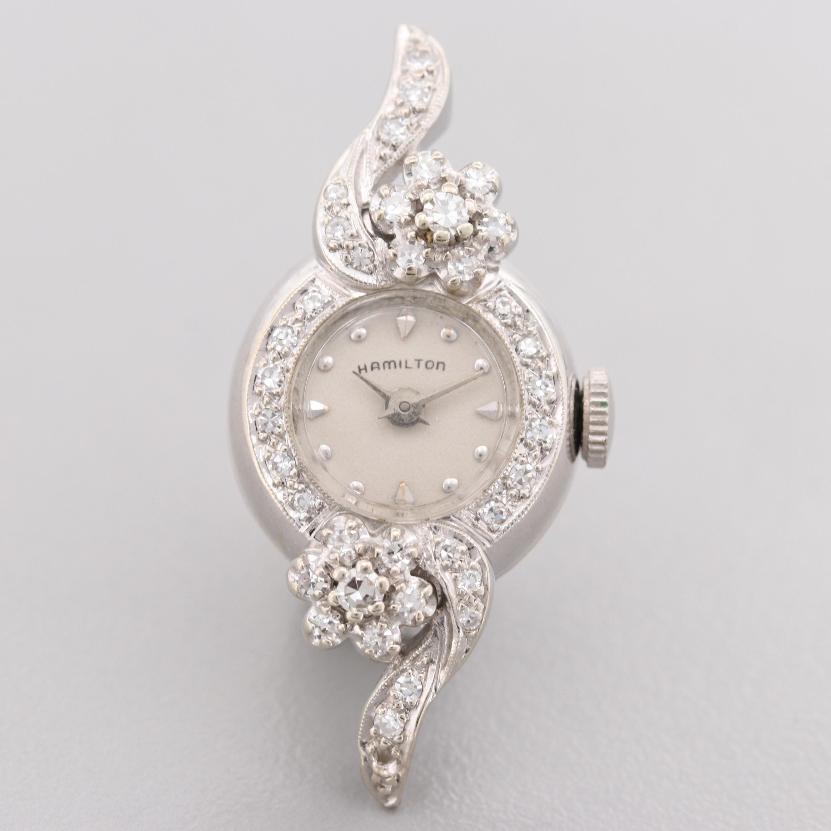 Hamilton 14K White Gold Wristwatch With Diamond Bezel And Diamond Floral Accents