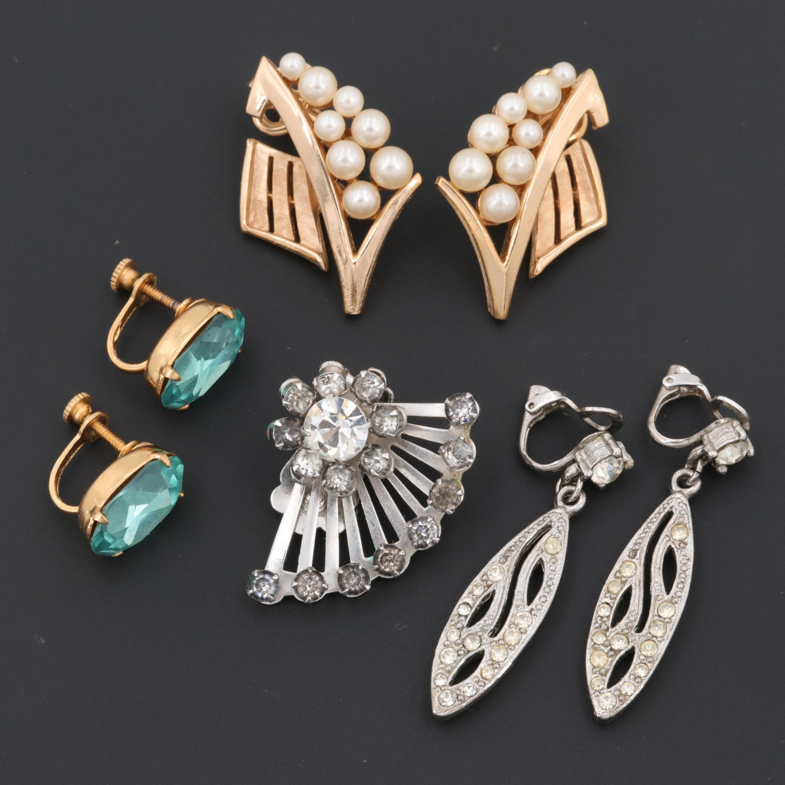 Vintage Costume Glass and Imitation Pearl Earrings Featuring Coro and Trifari