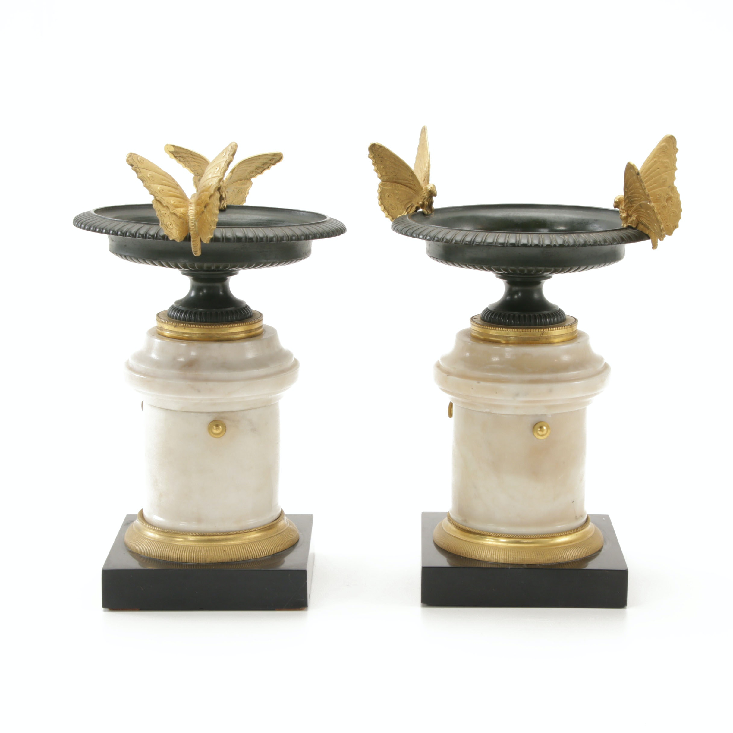 Napoleon III Bronze and Marble Garniture Tazzas