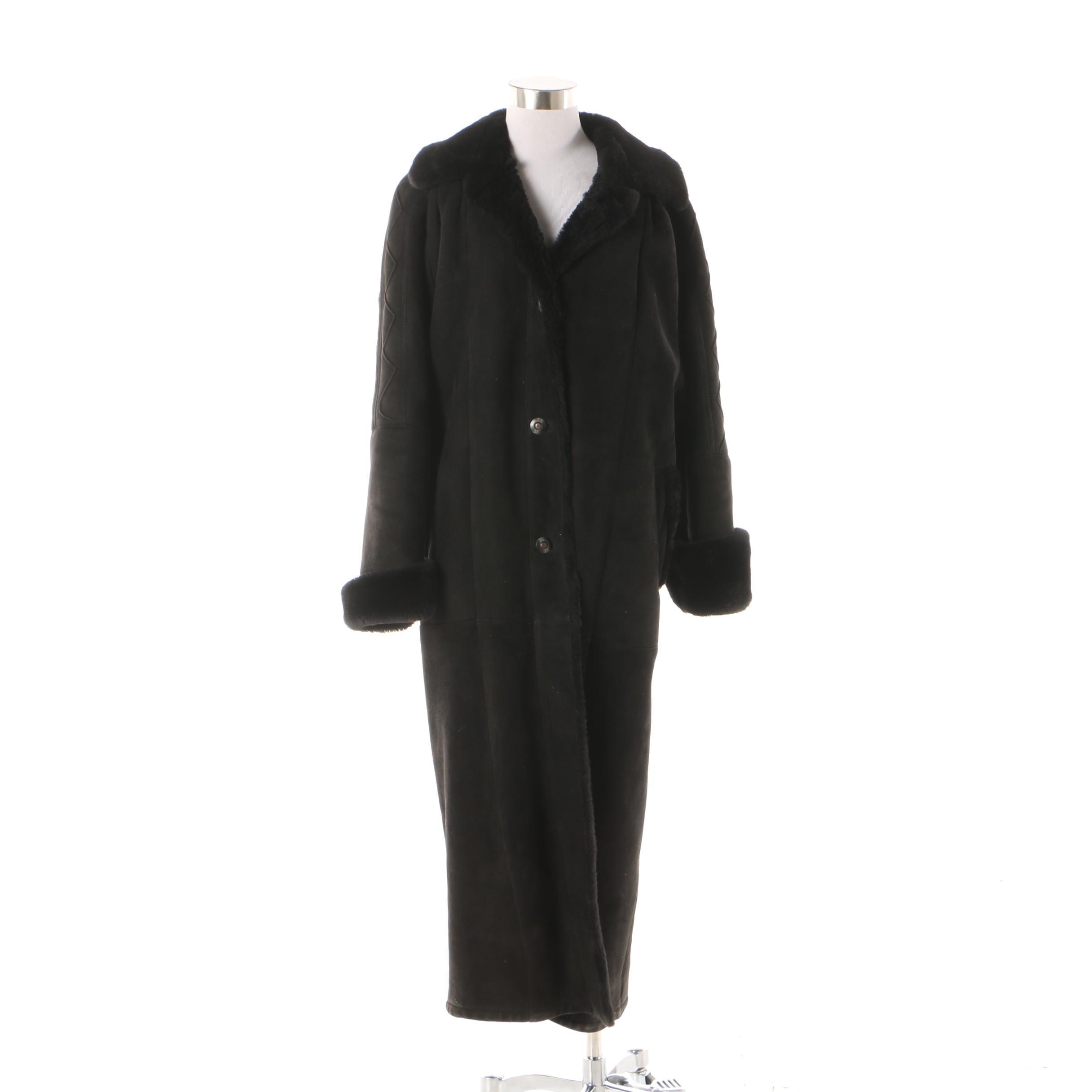 Women's Neiman Marcus Black Sheepskin Suede and Shearling Coat