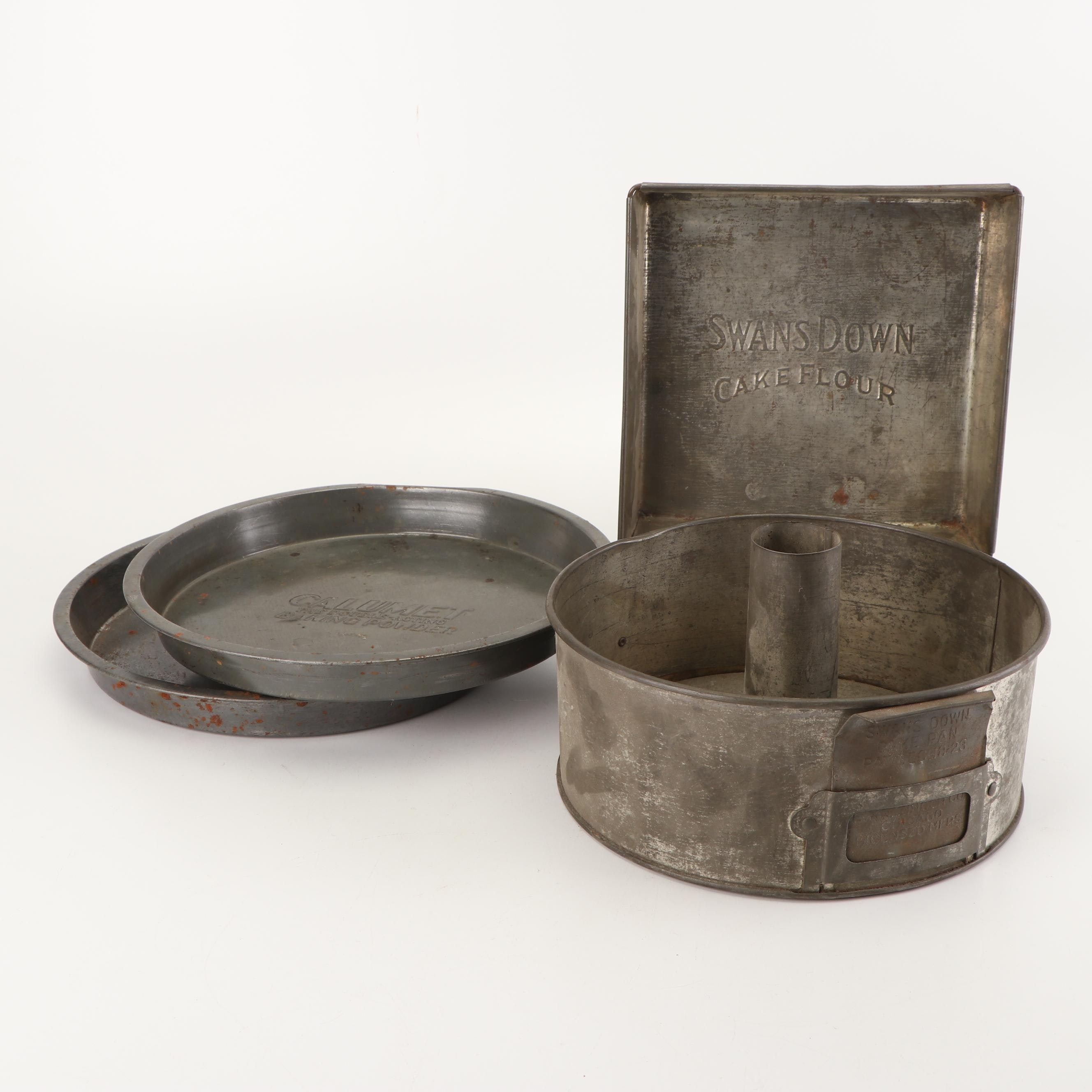 Swans Down and Calumet Metal Cake and Baking Pans, 1920s