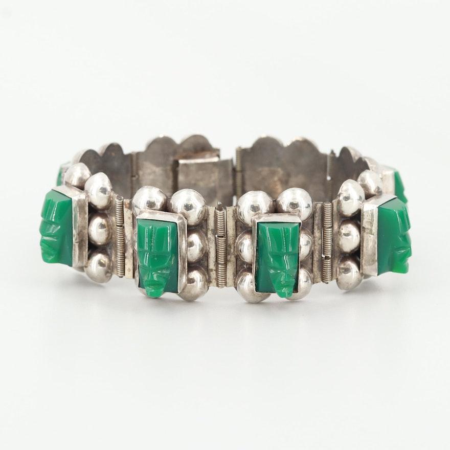Vintage Mexican Sterling Silver Carved Figural Glass Bracelet