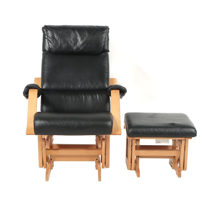 Incredible Glide R Motion Wood And Leather Rocking Chair With Ottoman Short Links Chair Design For Home Short Linksinfo