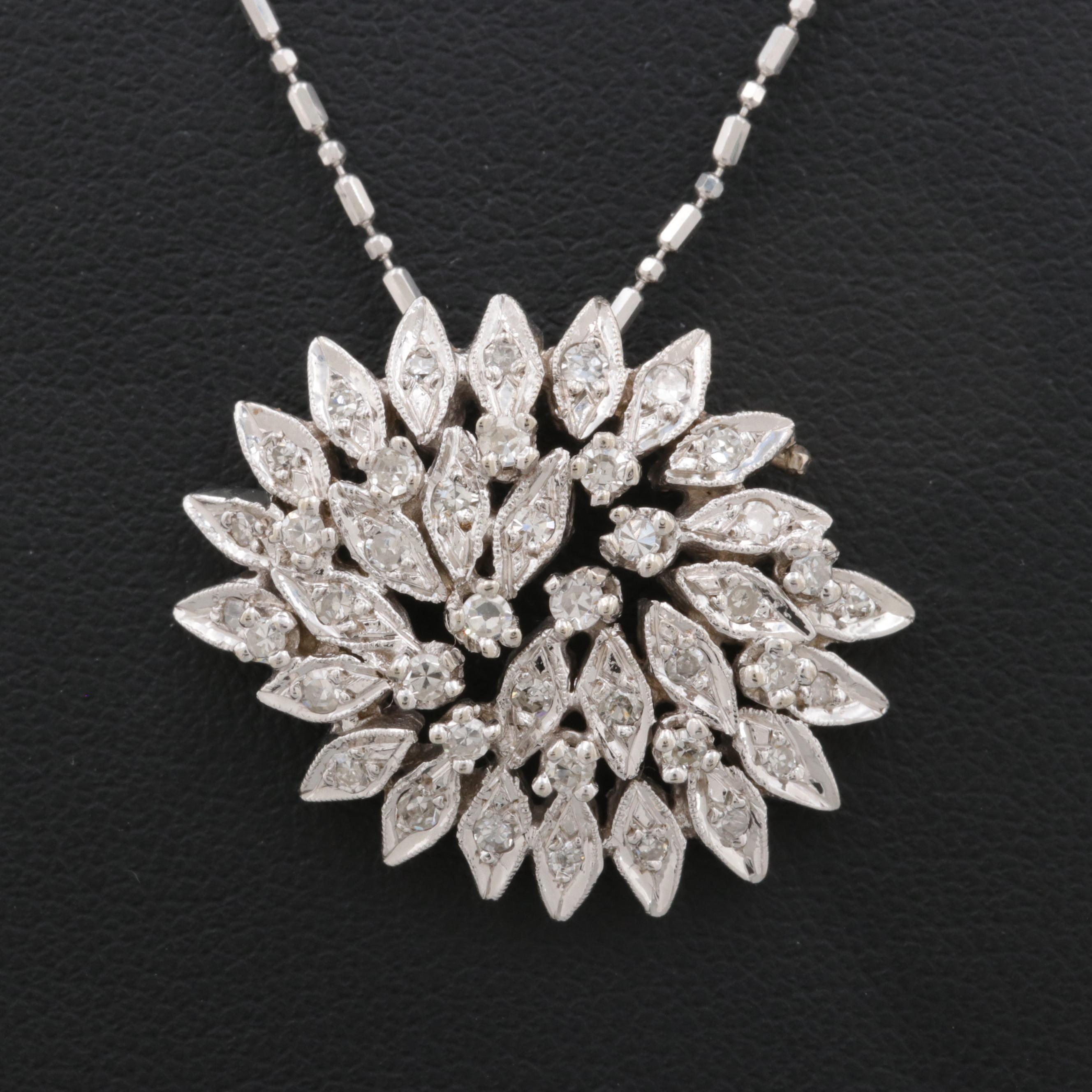 Circa 1950's 14K White Gold Diamond Necklace