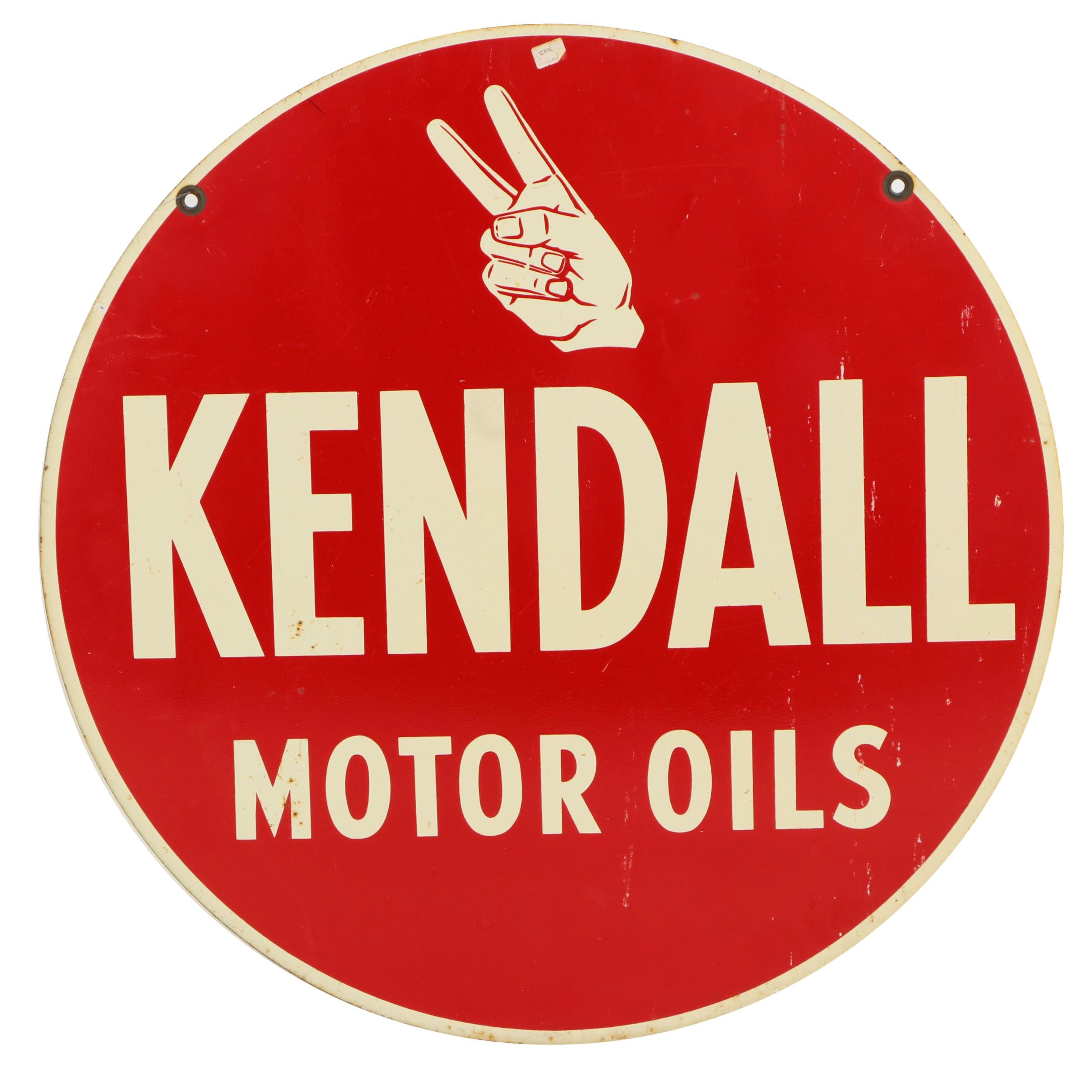 Kendall Motor Oils Enameled Metal Sign, 20th Century