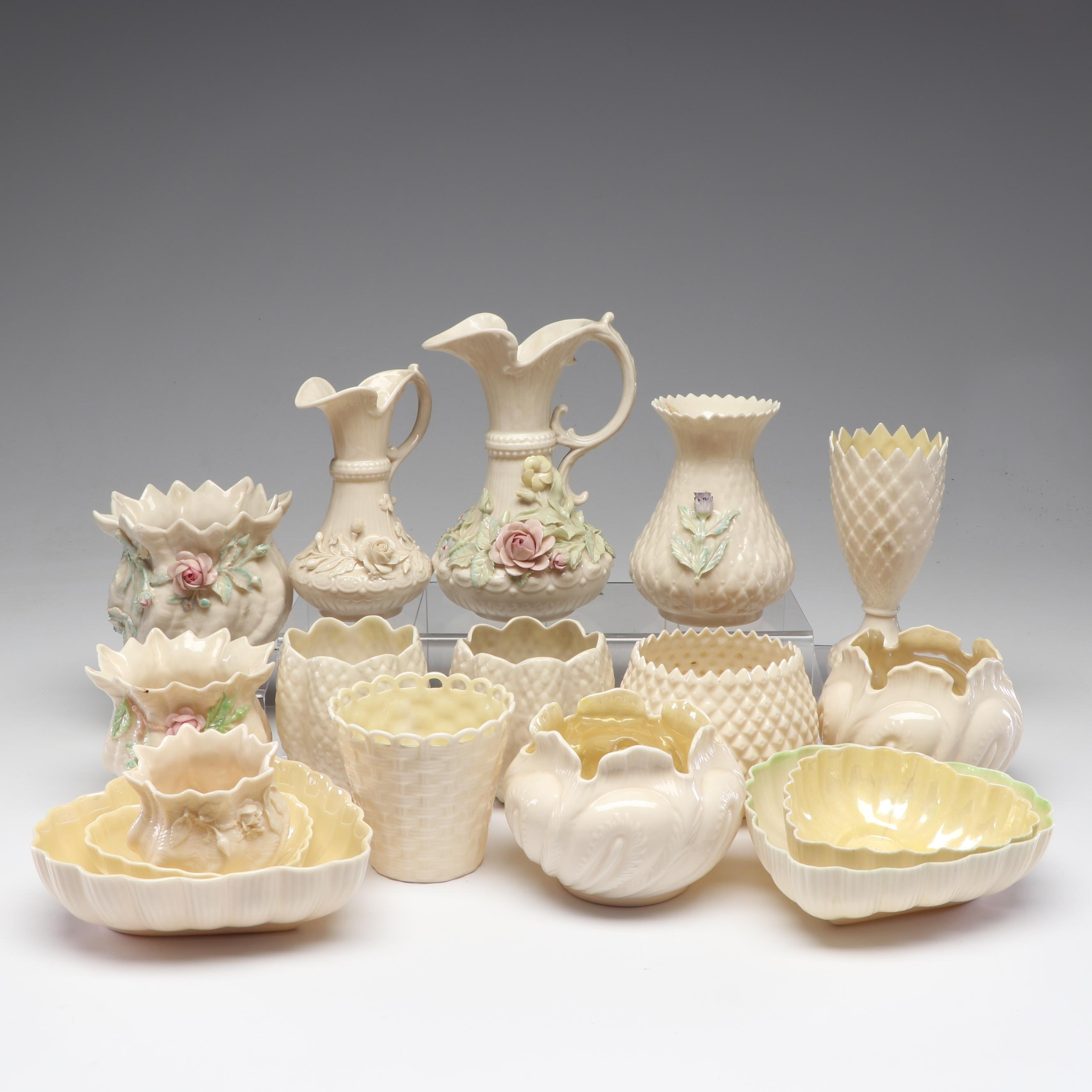 Belleek Vases and Table Accents Including Shamrock and Diamond Patterns