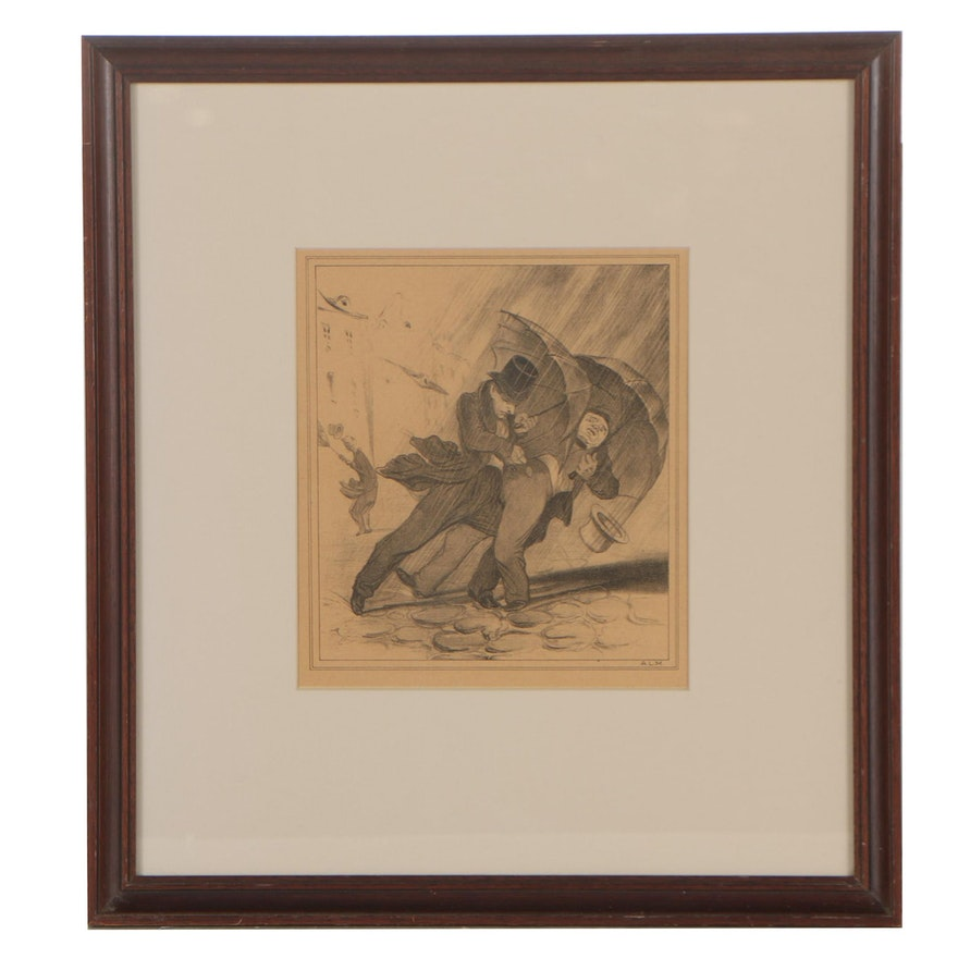 """Lithograph after Honoré Daumier """"Flibustiers Parisiens"""""""
