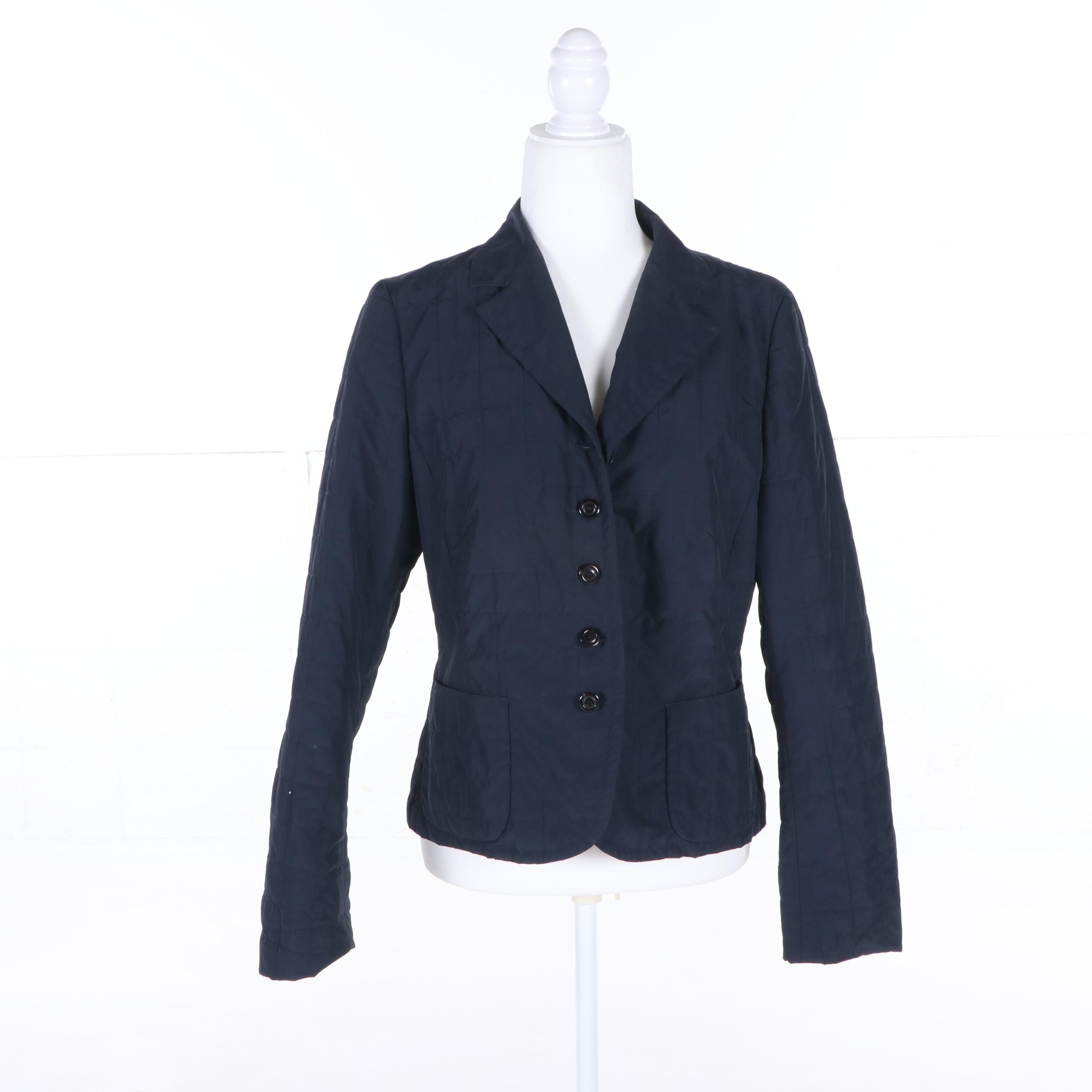Women's Luciano Barbera Navy Blue Button-Front Jacket, Made in Italy