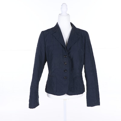 823ad4ddac288f Women s Luciano Barbera Navy Blue Button-Front Jacket