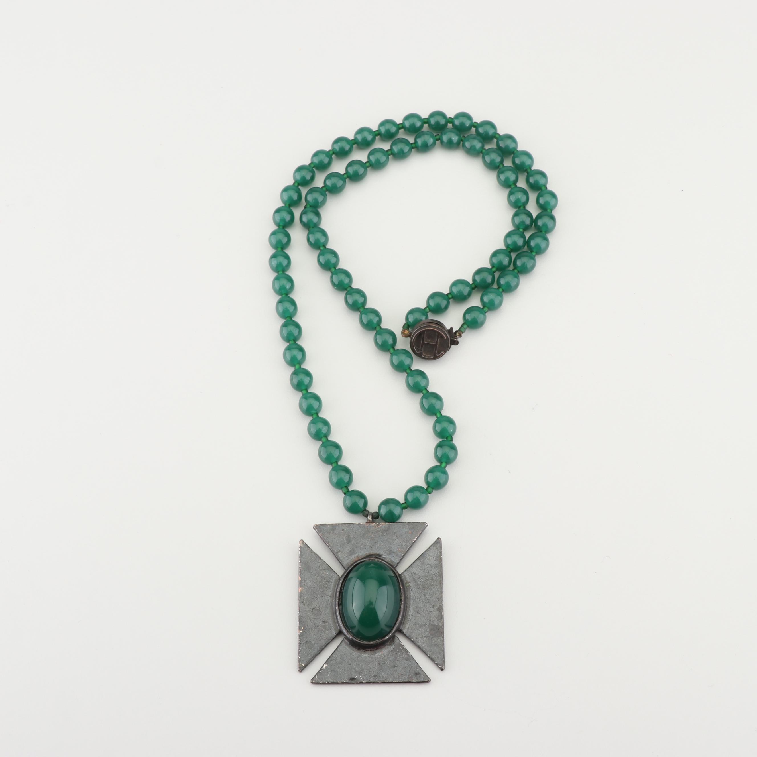 Hattie Carnegie Beaded Cross Pendant Necklace