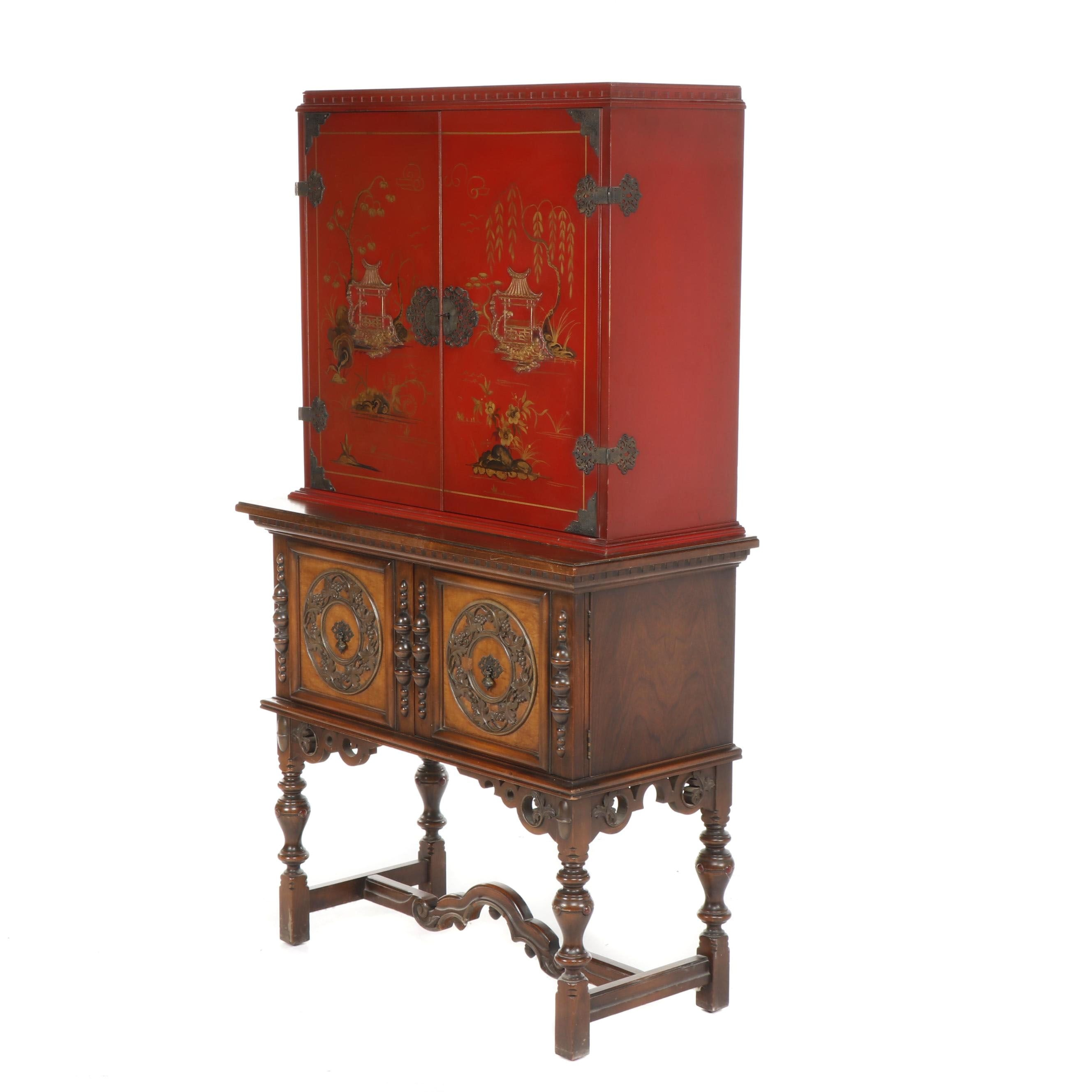 Chinoiserie Hand-Painted Wood Case on William and Mary Style Walnut Base, 20th C