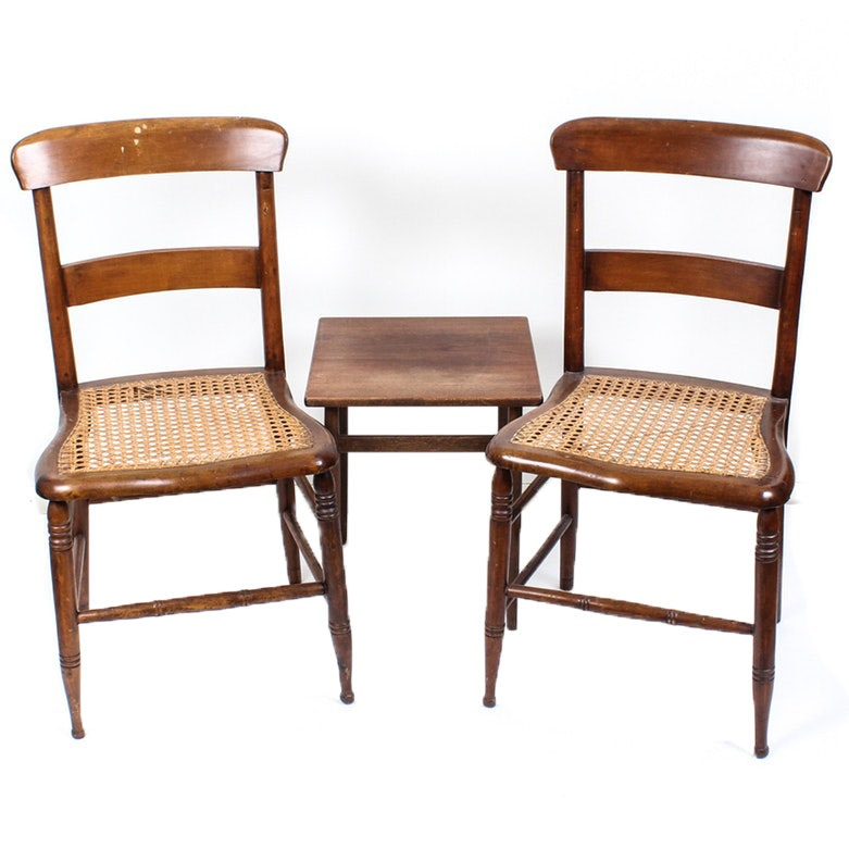 Tove & Edvard Kindt-Larsen for Seffle Table with Serpentine Caned Side Chairs