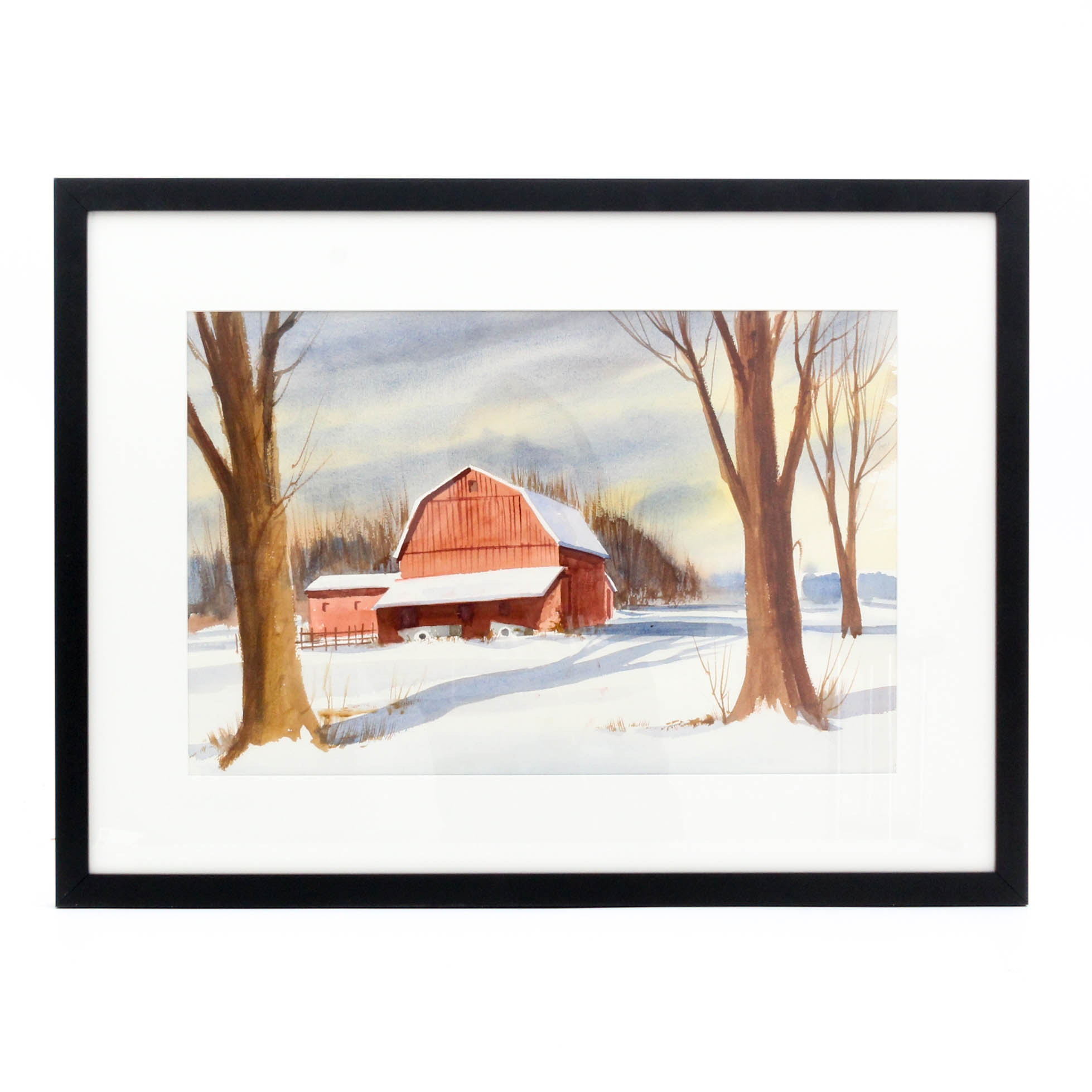 James DeVore Large Watercolor Painting Depicting a Barn