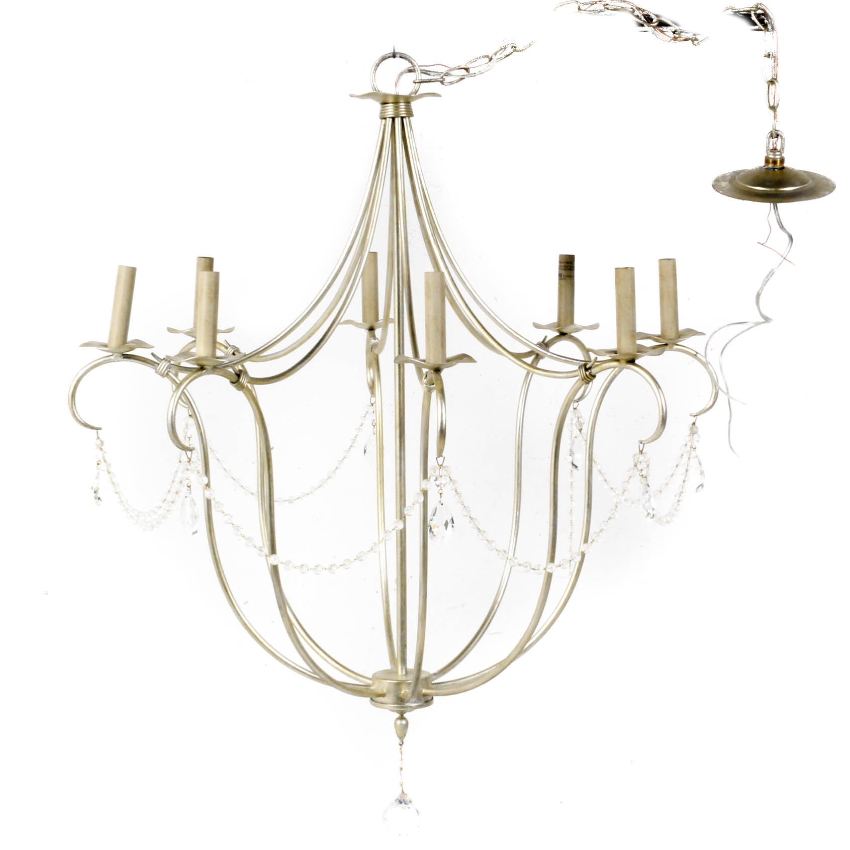 Currey & Company Eight Light Silver Leaf Finish Chandelier with Crystal Prisms