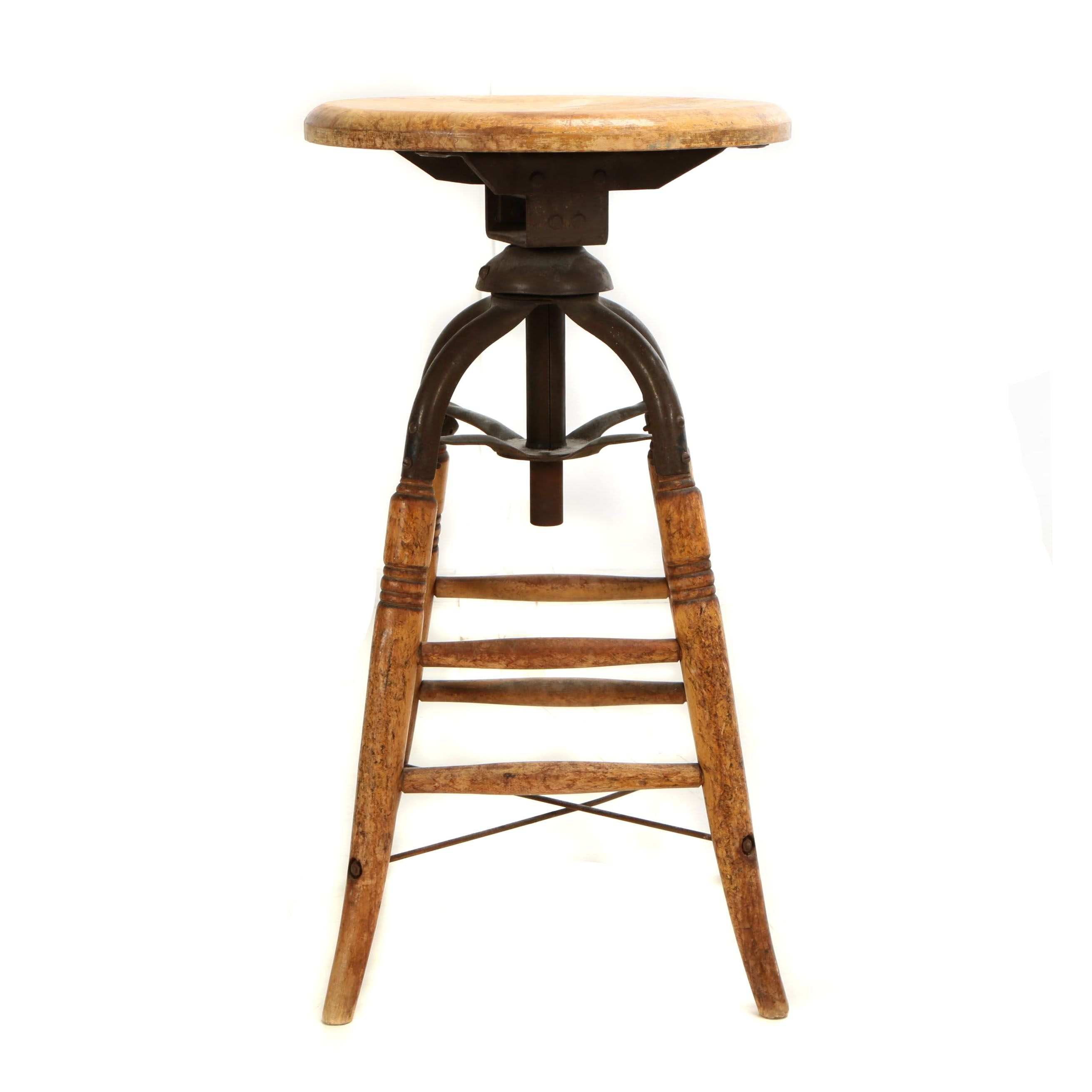 Industrial Wood and Iron Swivel Stool, Early 20th Century