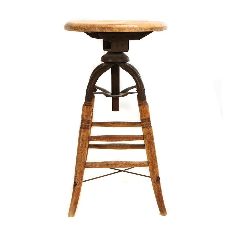 Miraculous Industrial Wood And Iron Swivel Stool Early 20Th Century Inzonedesignstudio Interior Chair Design Inzonedesignstudiocom