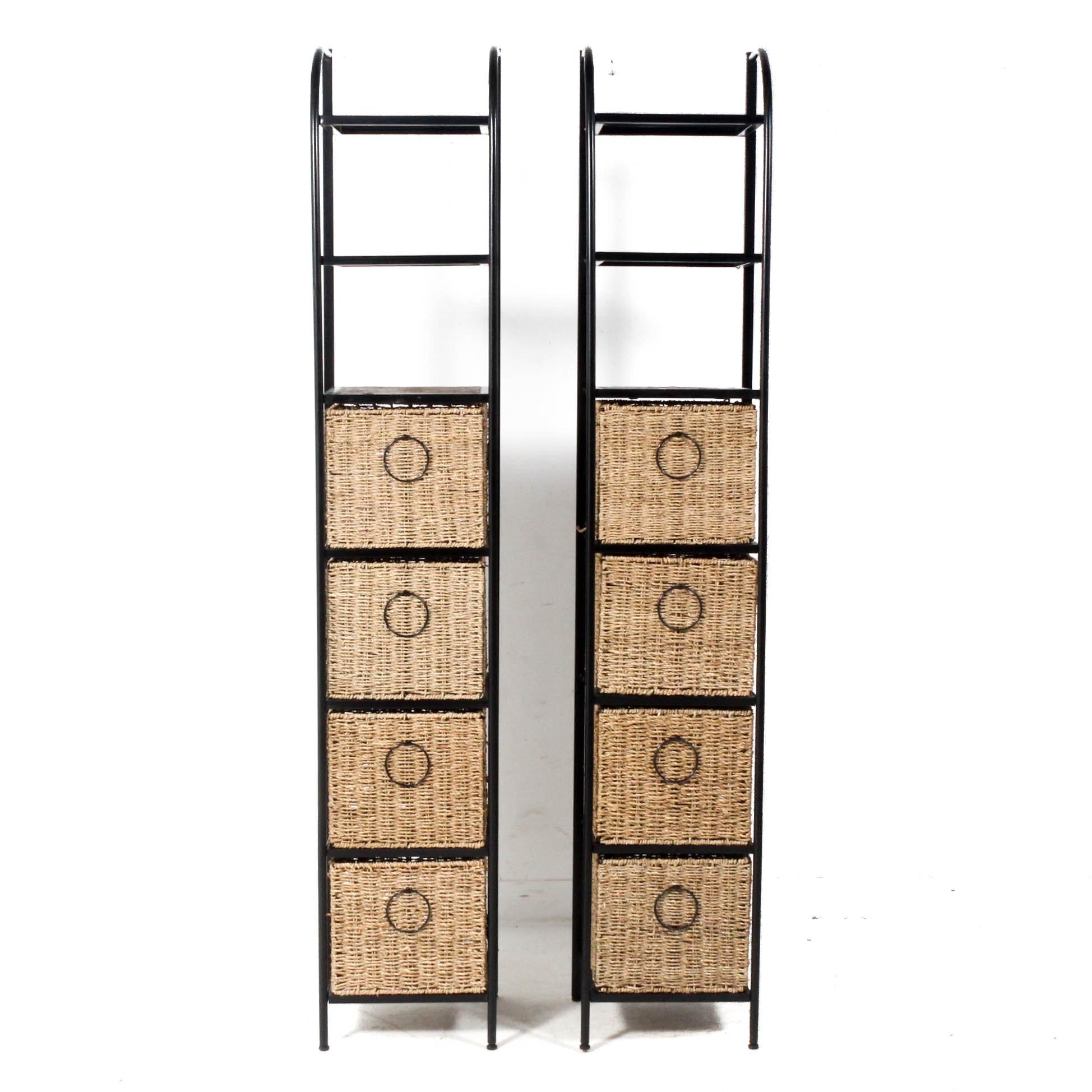 Metal and Rattan Shelves