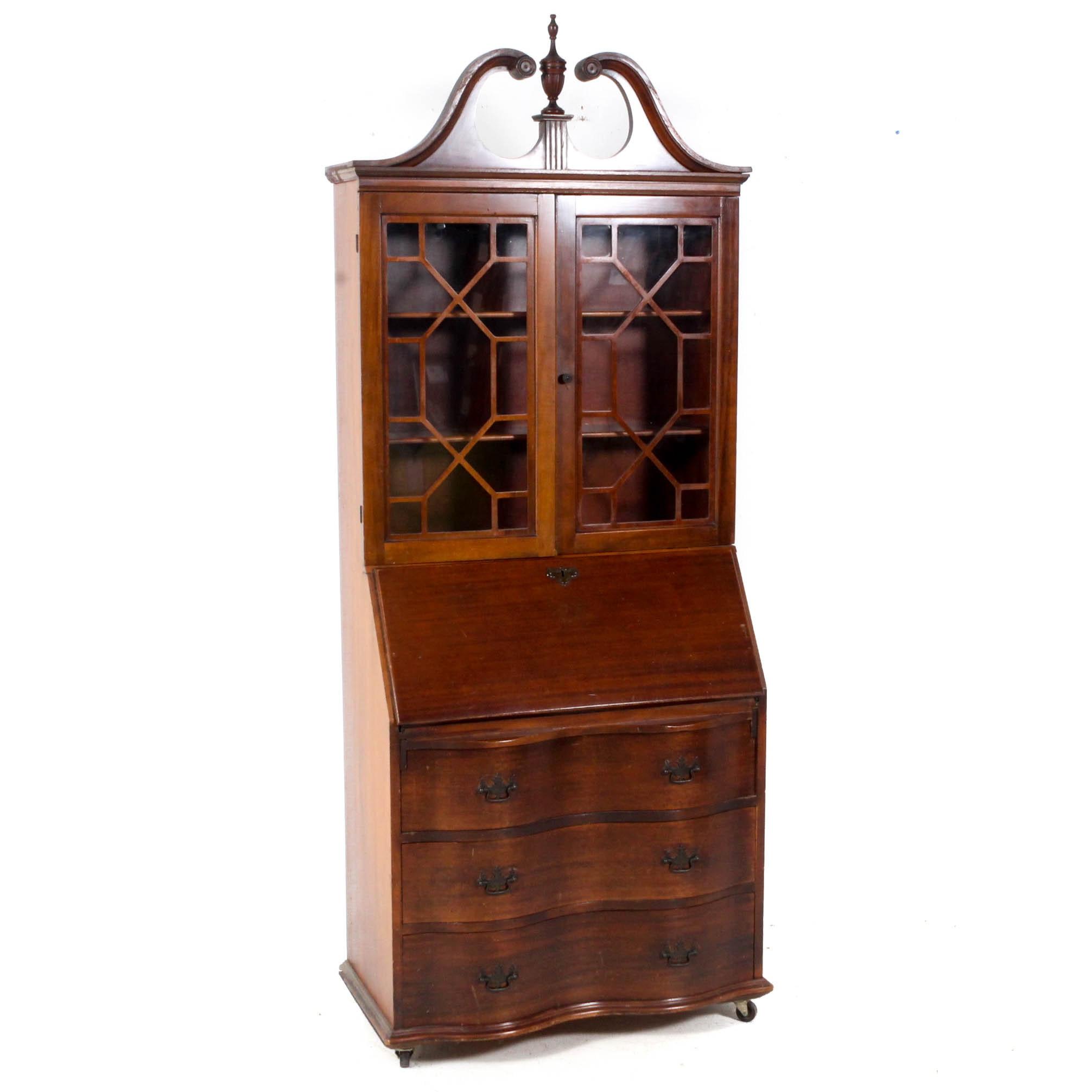 Vintage Wood Secretary Cabinet