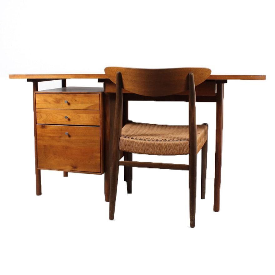 Incredible Whitney Mid Century Modern Birch Wood Desk And Chair Download Free Architecture Designs Scobabritishbridgeorg